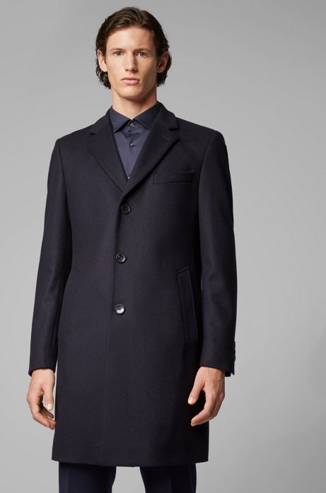 Formal coat in wool and cashmere with notch lapels, Dark Blue