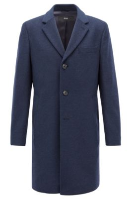 Formal coat in wool and cashmere with notch lapels, Open Blue