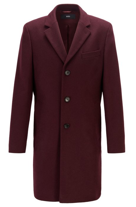 Formal coat in wool and cashmere with notch lapels, Dark Red
