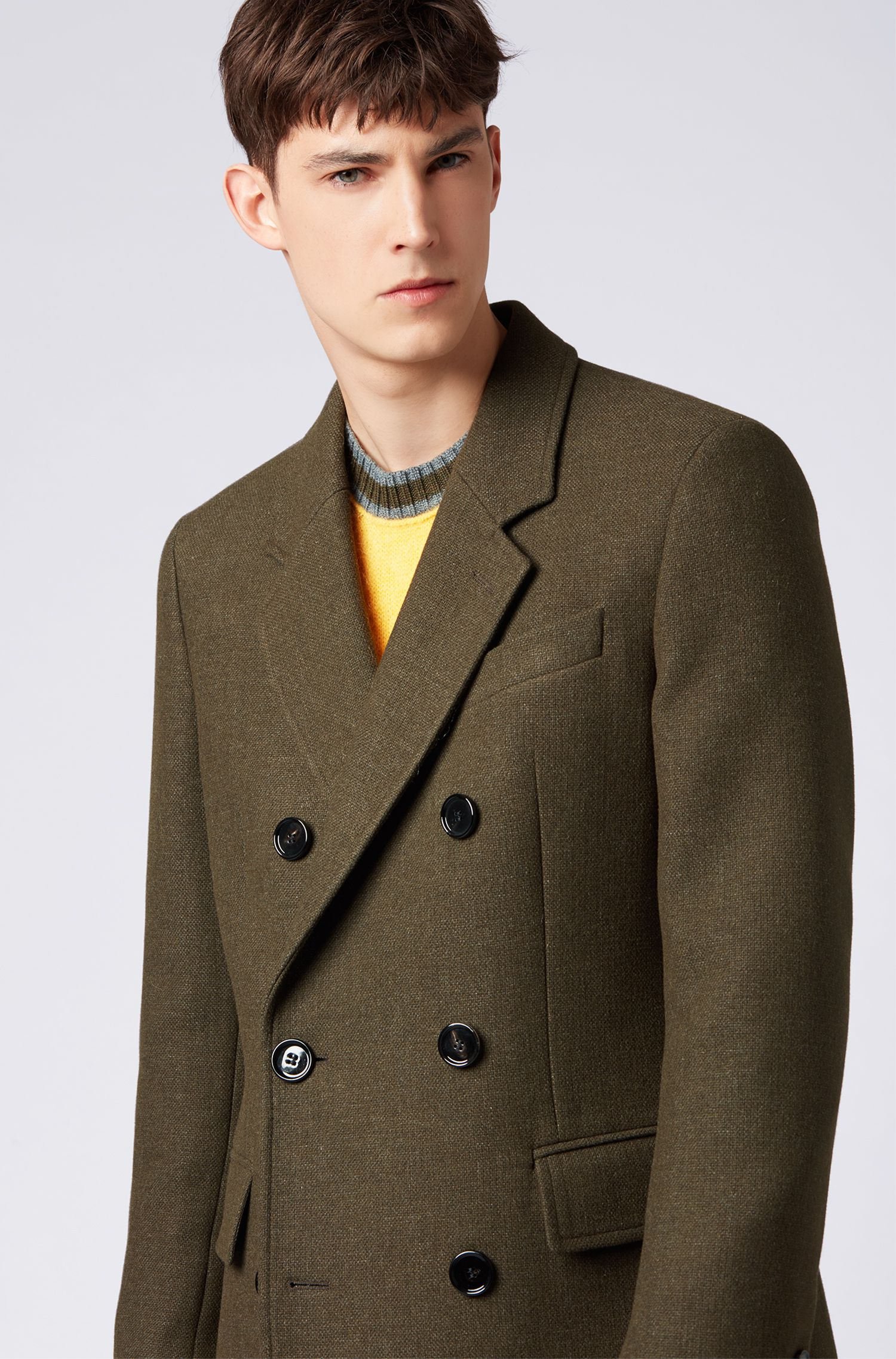 Double-breasted coat in a melange wool blend, Dark Green