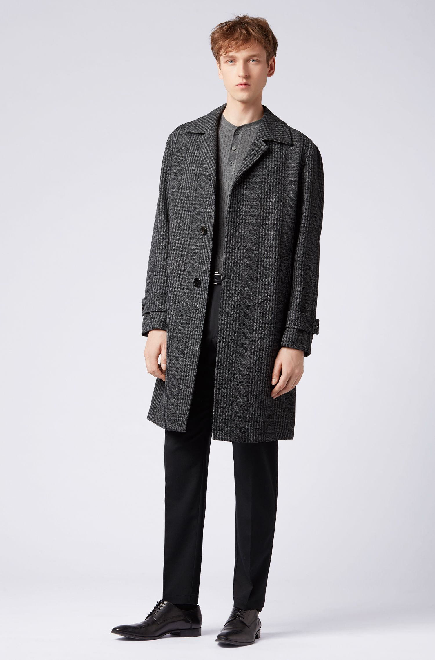 Relaxed-fit coat in double-faced check wool, Open Grey