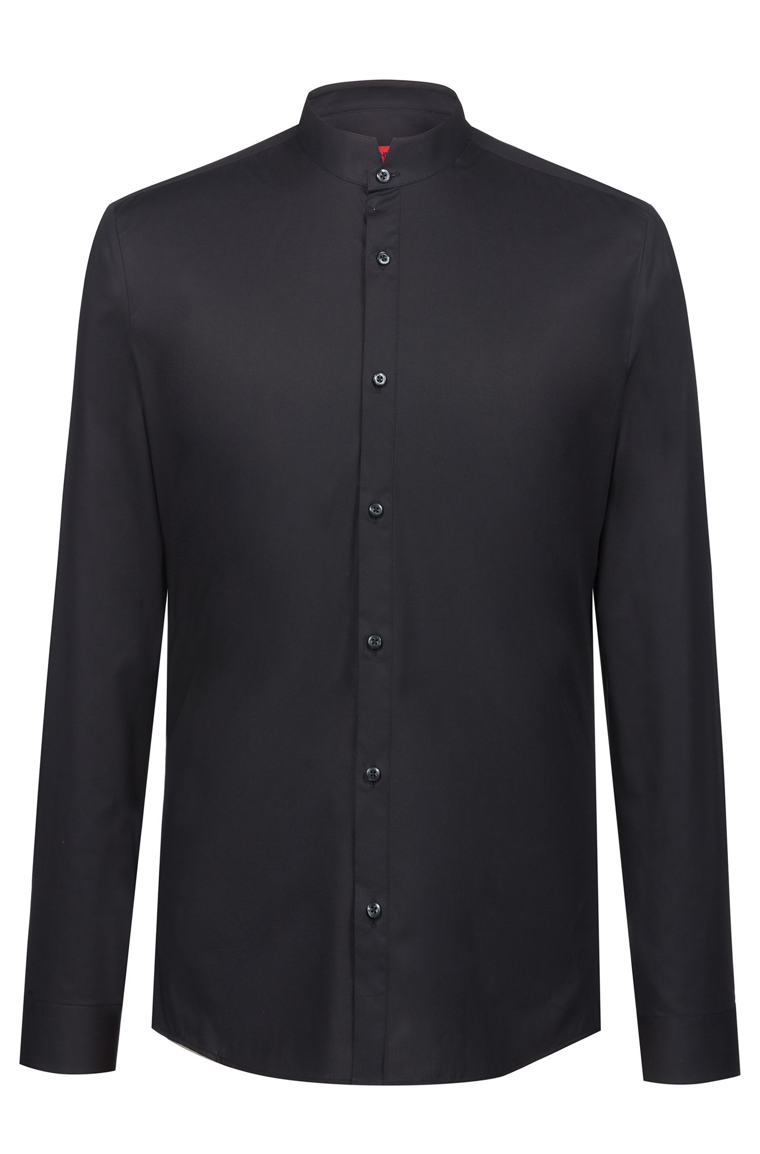 Extra-slim-fit shirt in stretch cotton with a stand collar, Black