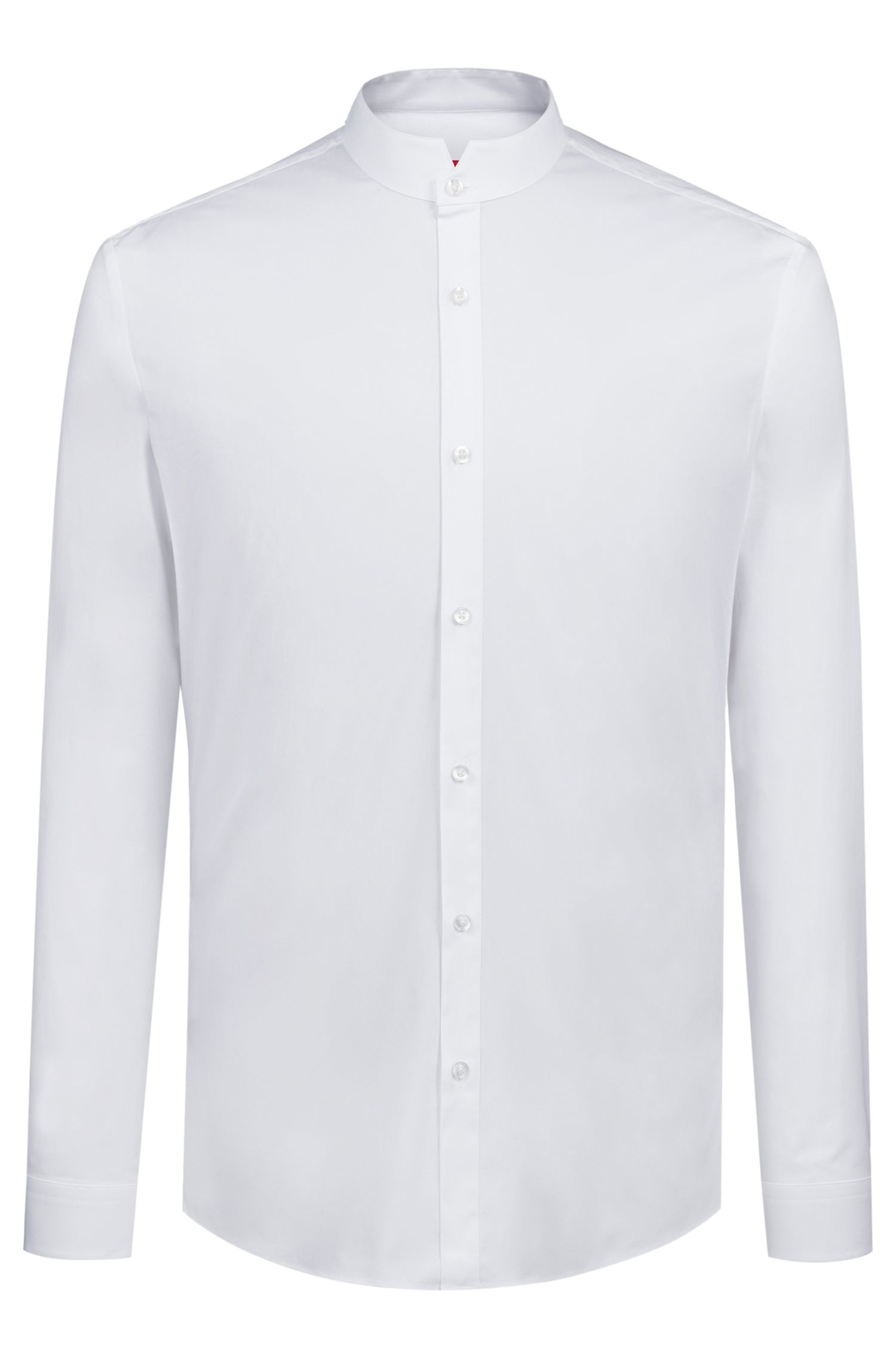 Extra-slim-fit shirt in stretch cotton with a stand collar, Open White