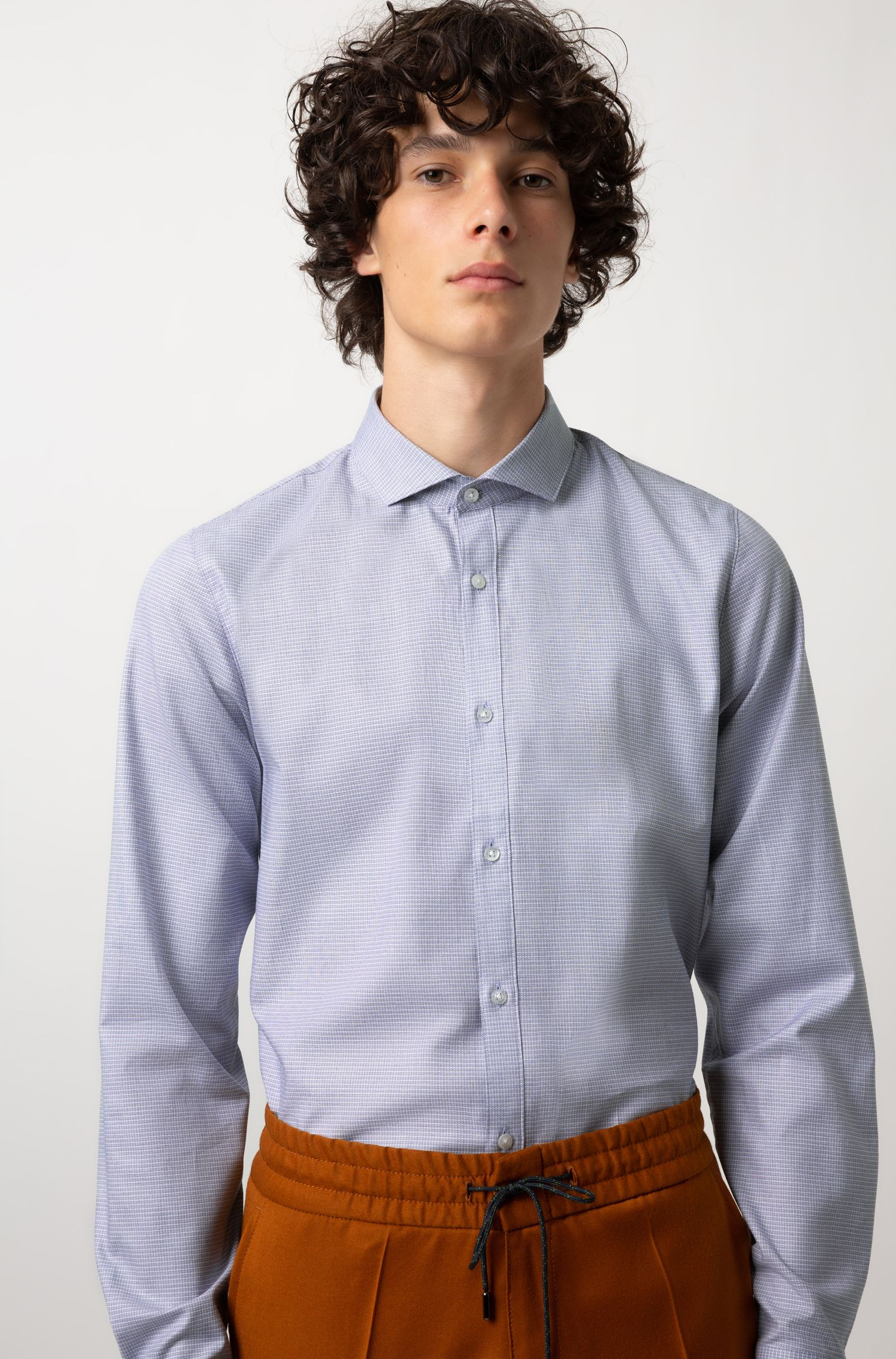 Extra-slim-fit shirt in stretch cotton with spread collar, Dark Blue
