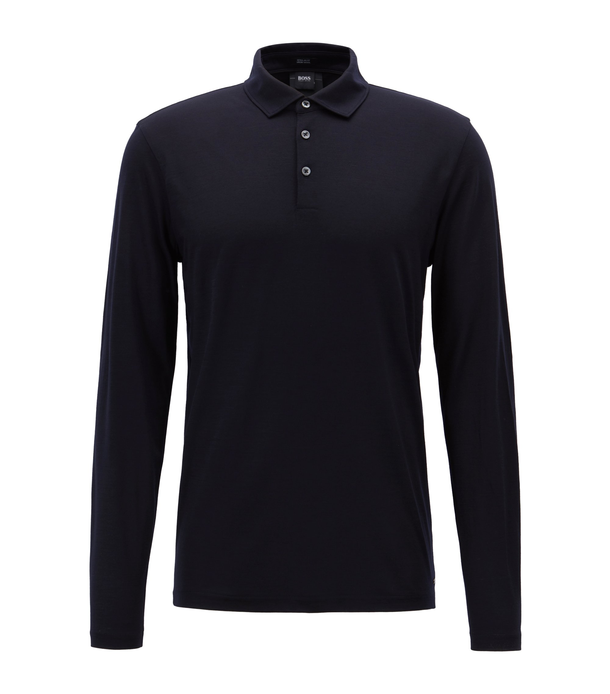 Travel Line polo shirt in Italian virgin wool, Open Blue