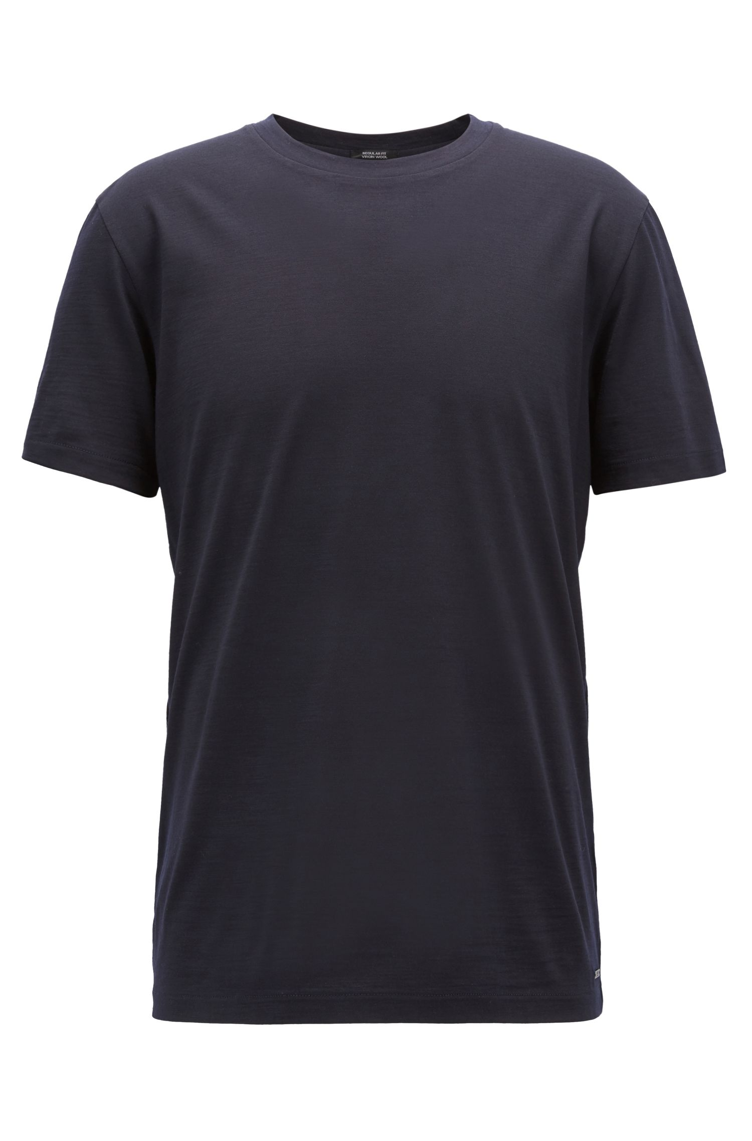 Travel Line T-shirt in Italian virgin wool, Open Blue