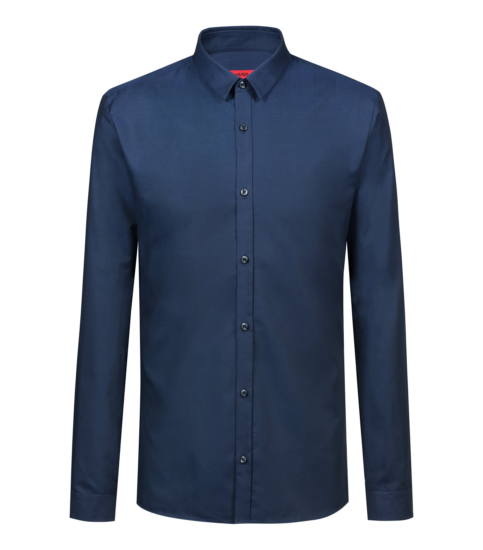 Extra-slim-fit shirt in dégradé check cotton, Dark Blue
