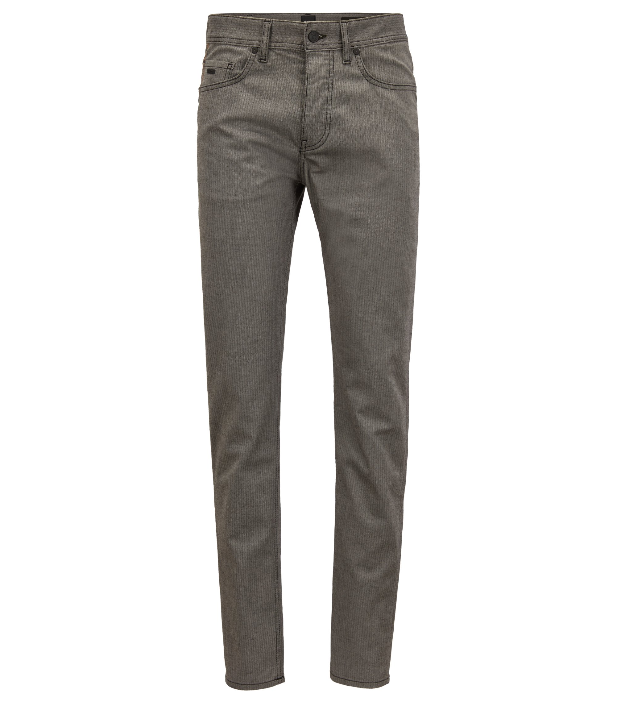 Tapered-fit jeans in comfort-stretch herringbone denim, Light Grey