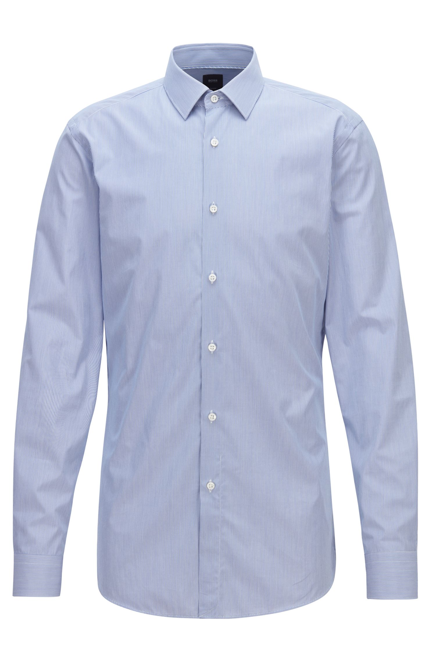 BOSS Tailored slim-fit shirt in striped Italian cotton, Blue