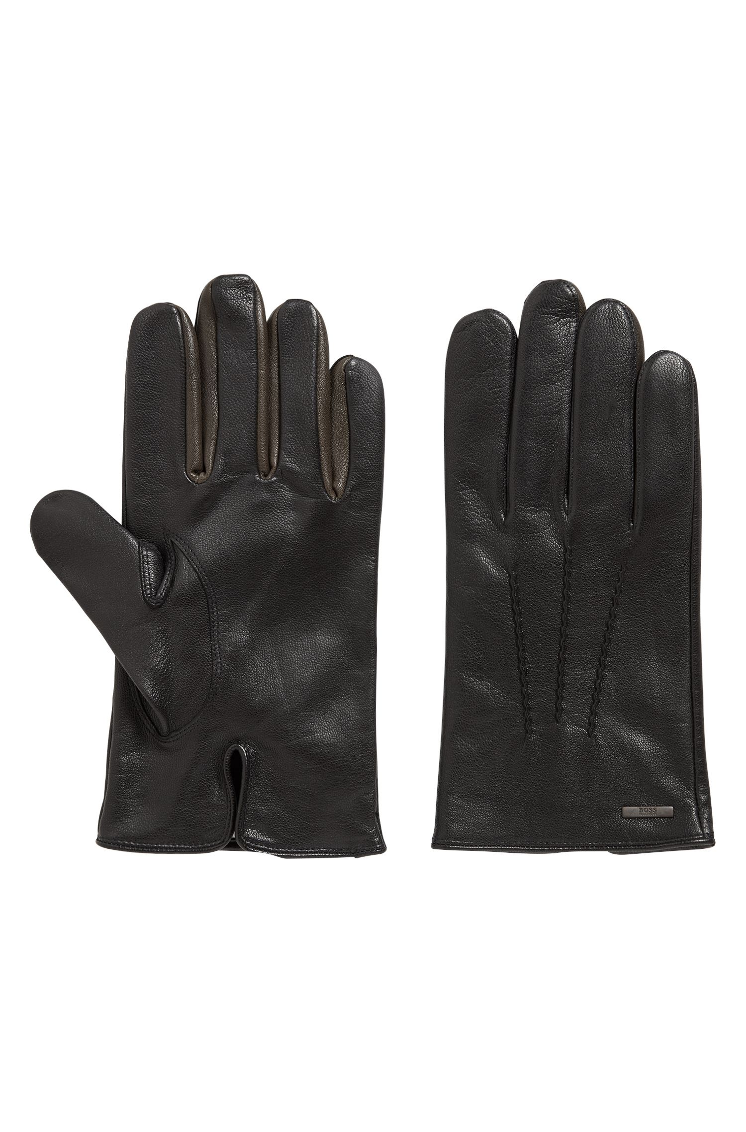 Nappa-leather gloves with color contrast, Black