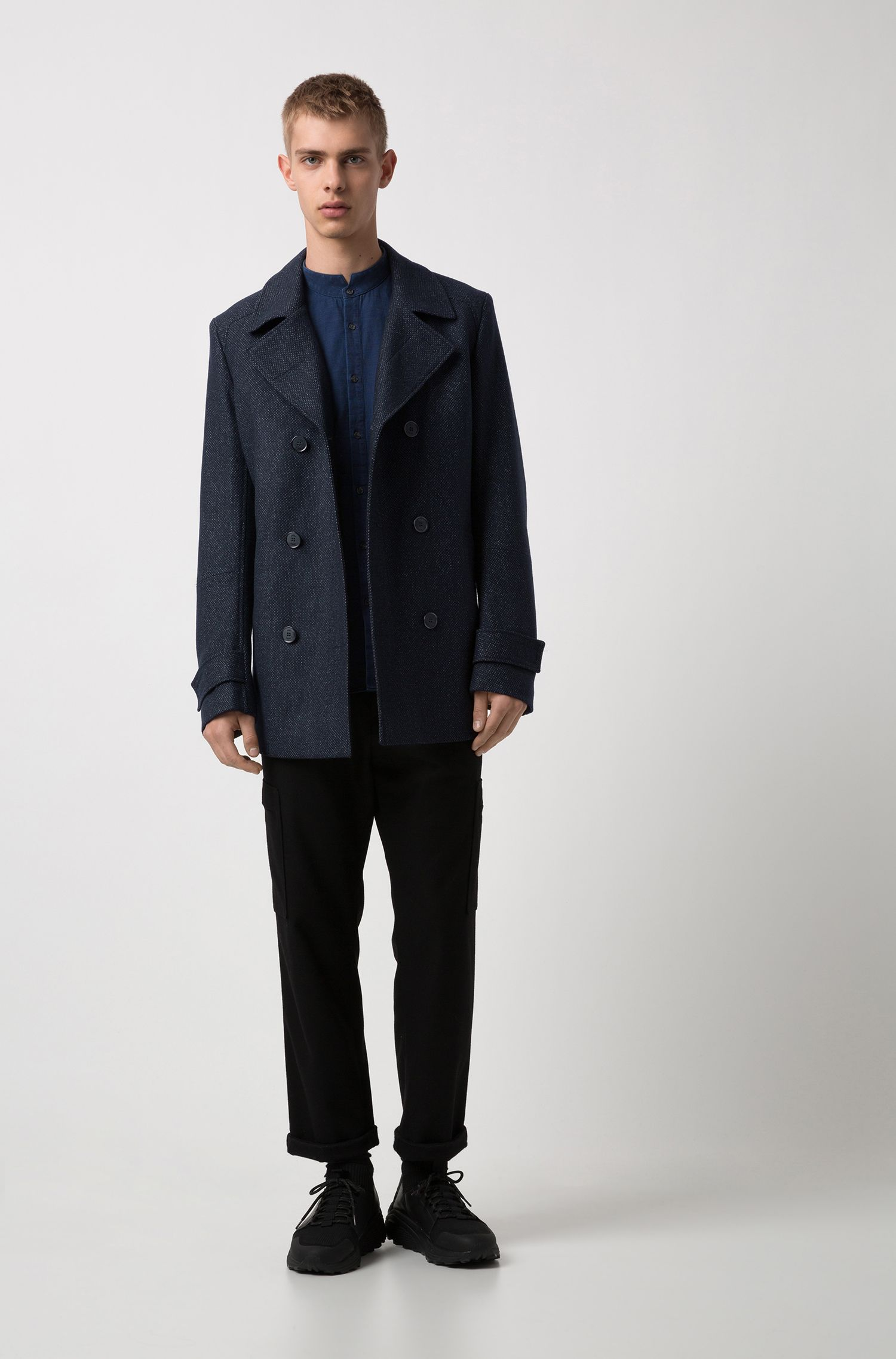 Extra-slim-fit indigo cotton shirt with stand collar, Dark Blue