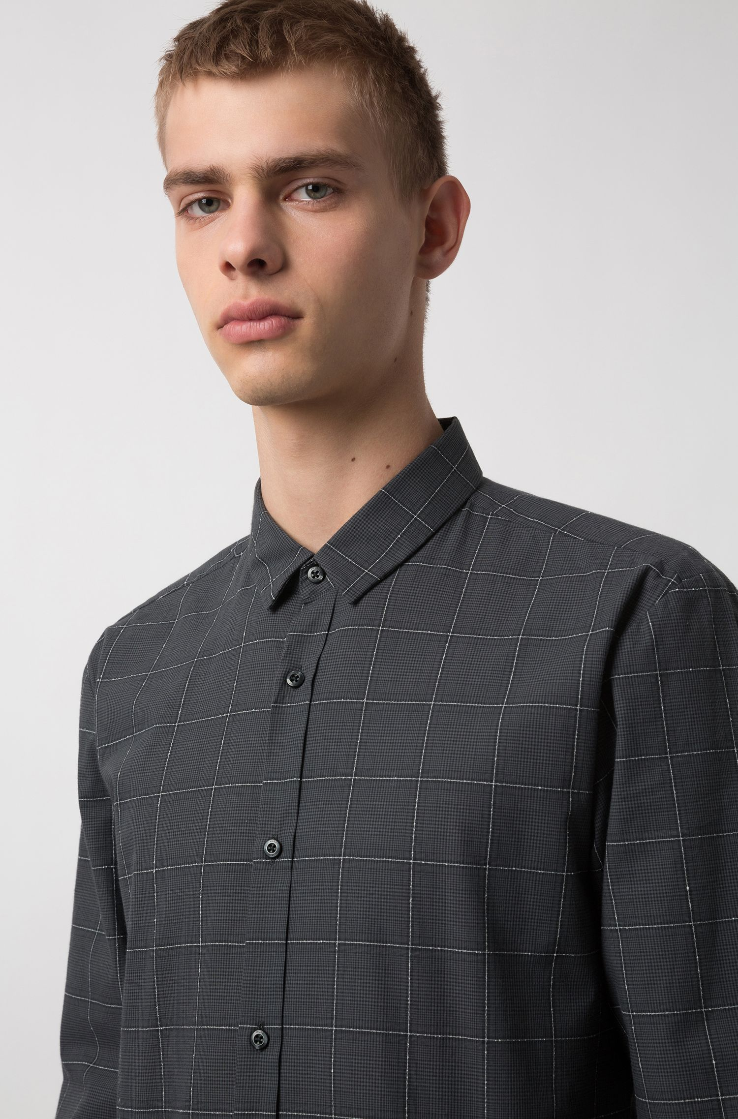 Extra-slim-fit checkered shirt in cotton-blend bouclé, Grey