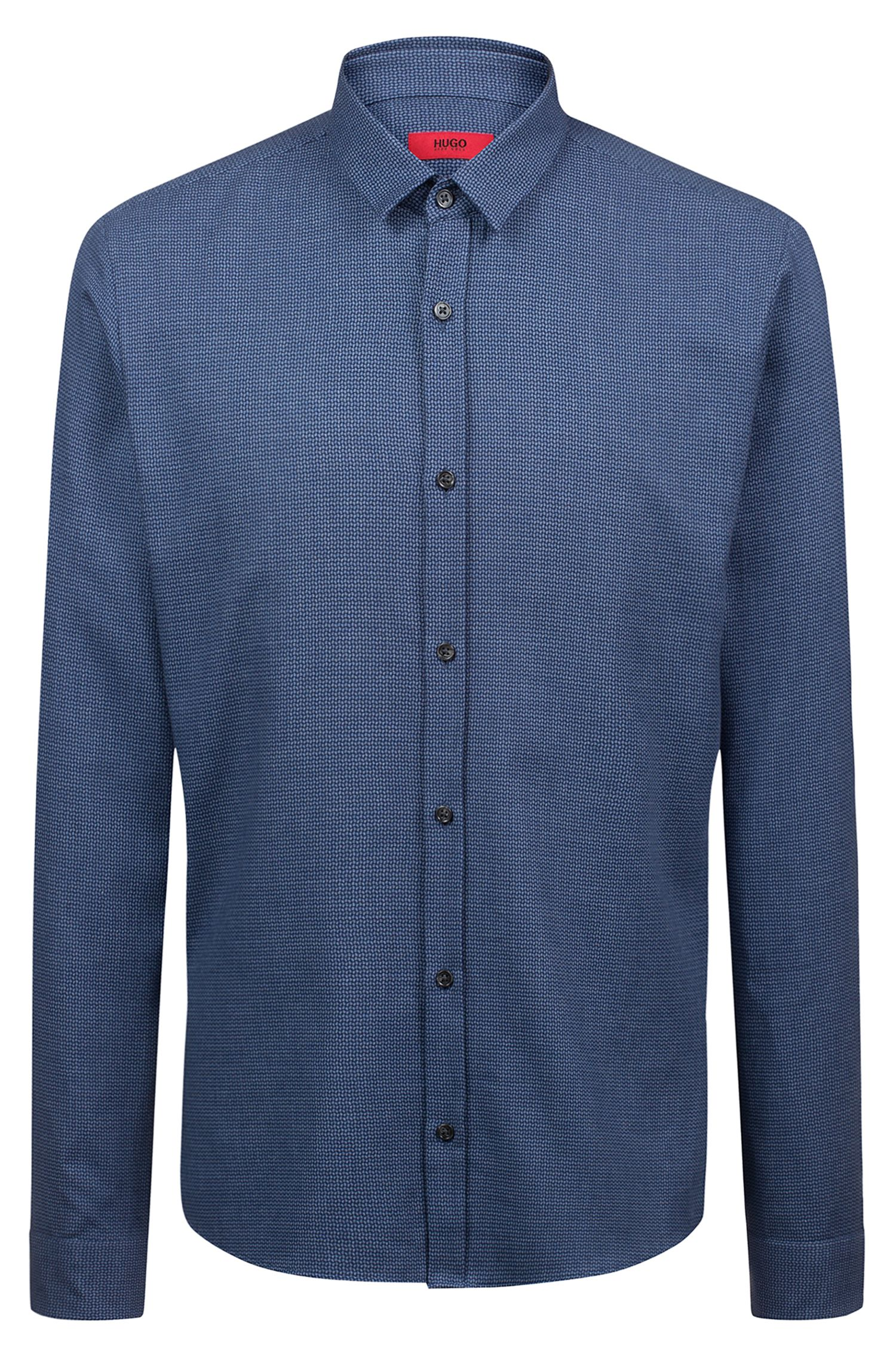 Extra-slim-fit cotton shirt with all-over tweed structure, Dark Blue