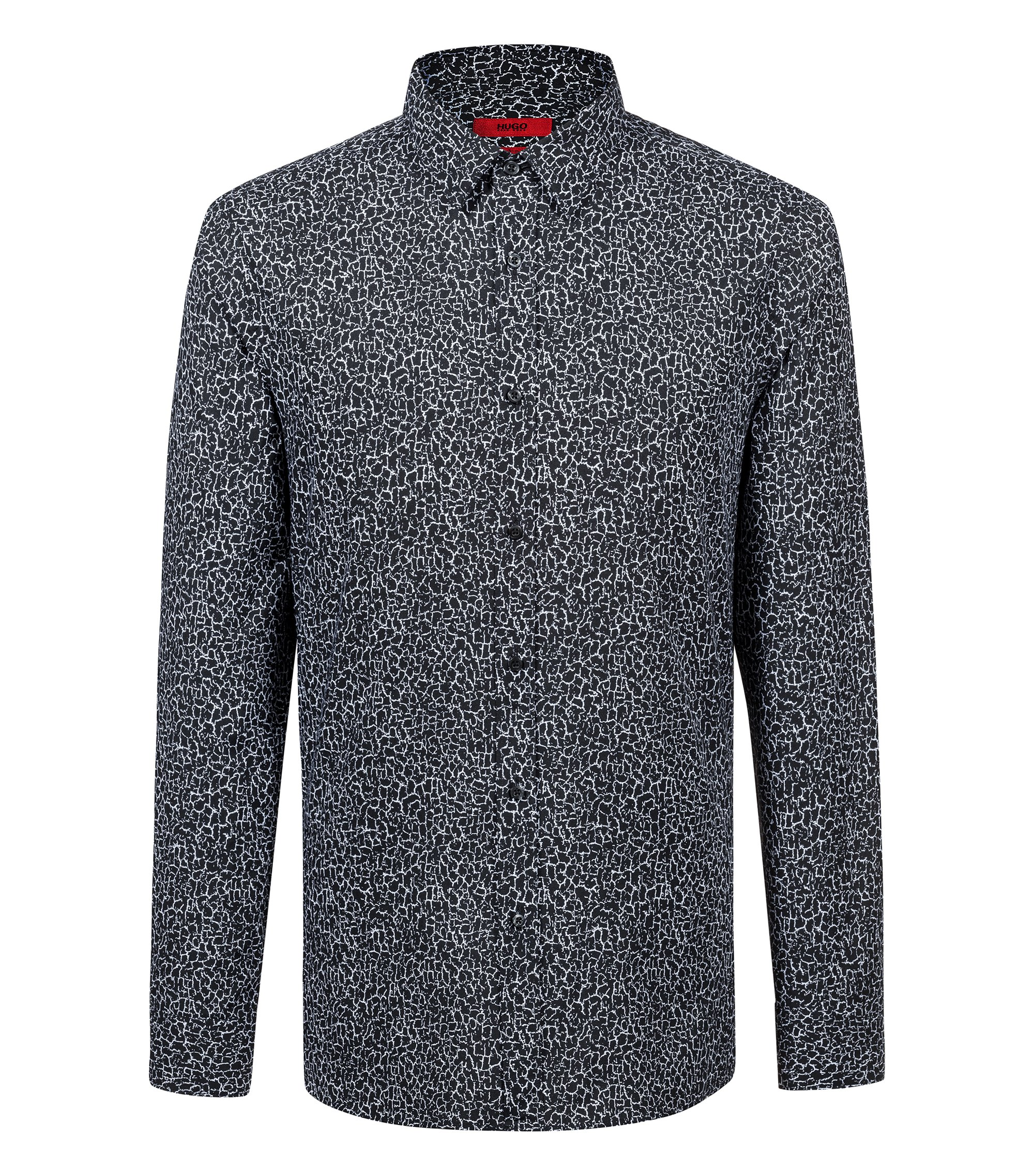 Extra-slim-fit cotton shirt with pigment-print pattern, Black