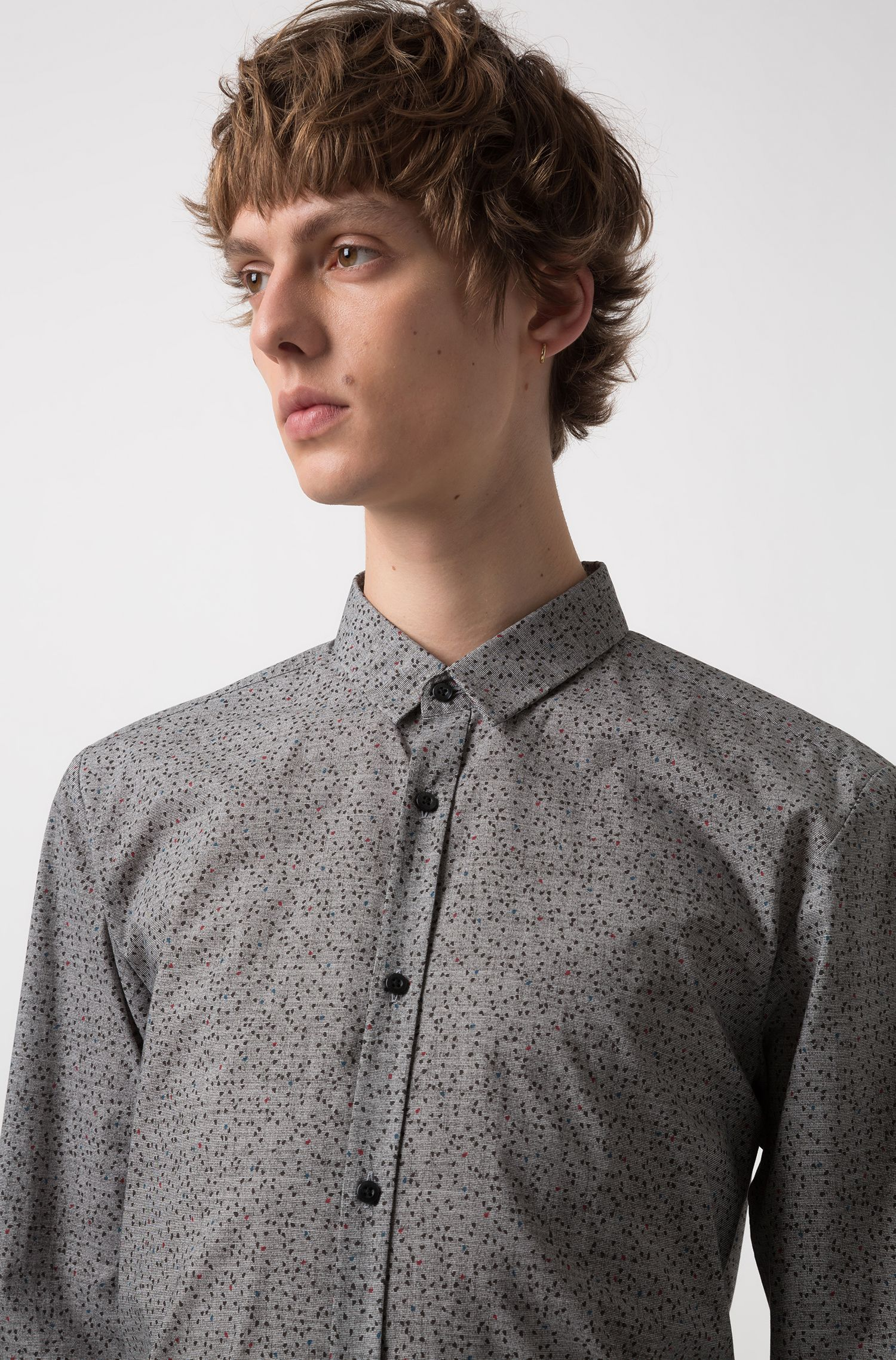 Extra-slim-fit cotton shirt with all-over pigment print, Black