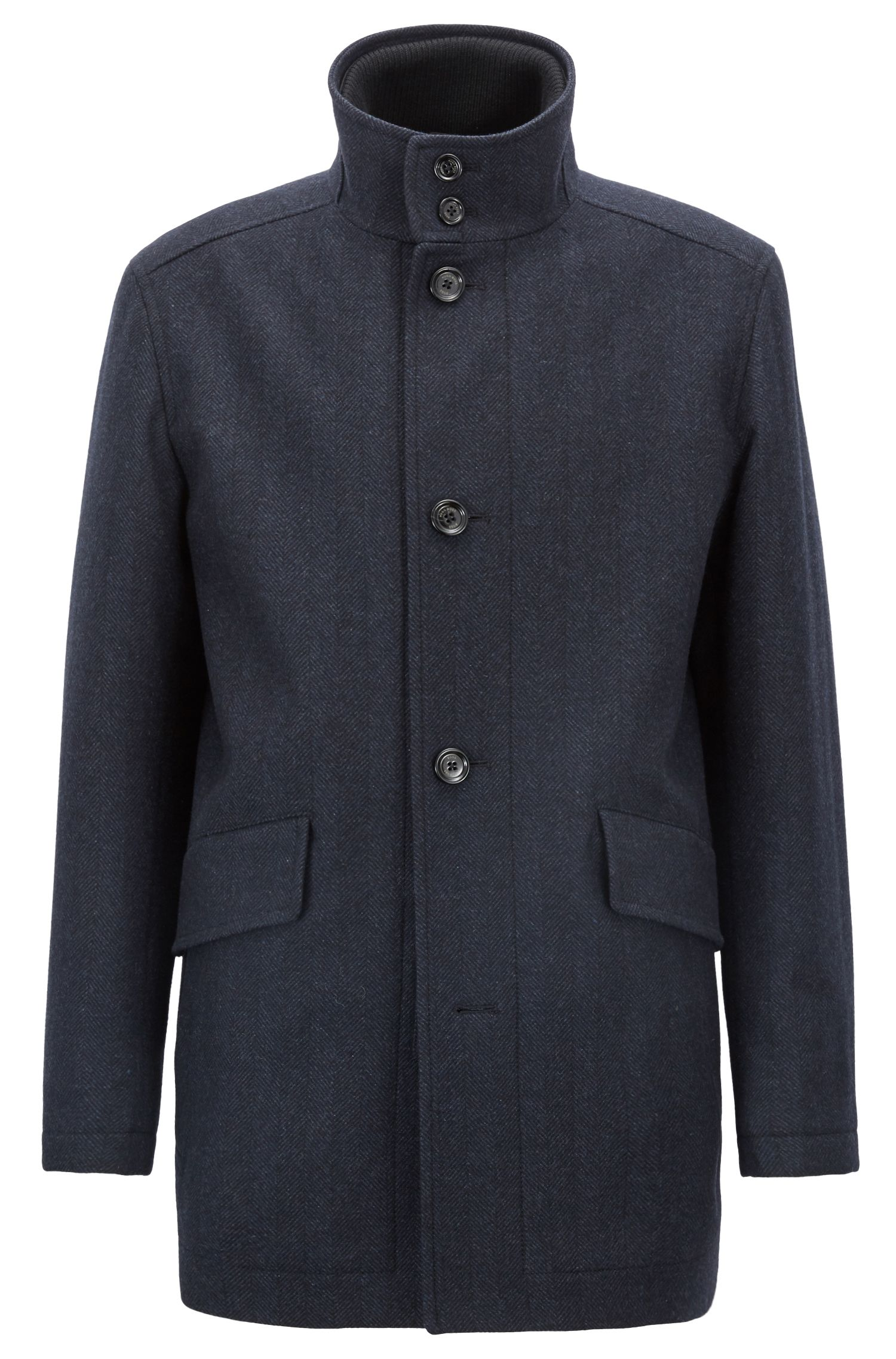 Relaxed-fit car coat in a herringbone wool blend, Dark Blue