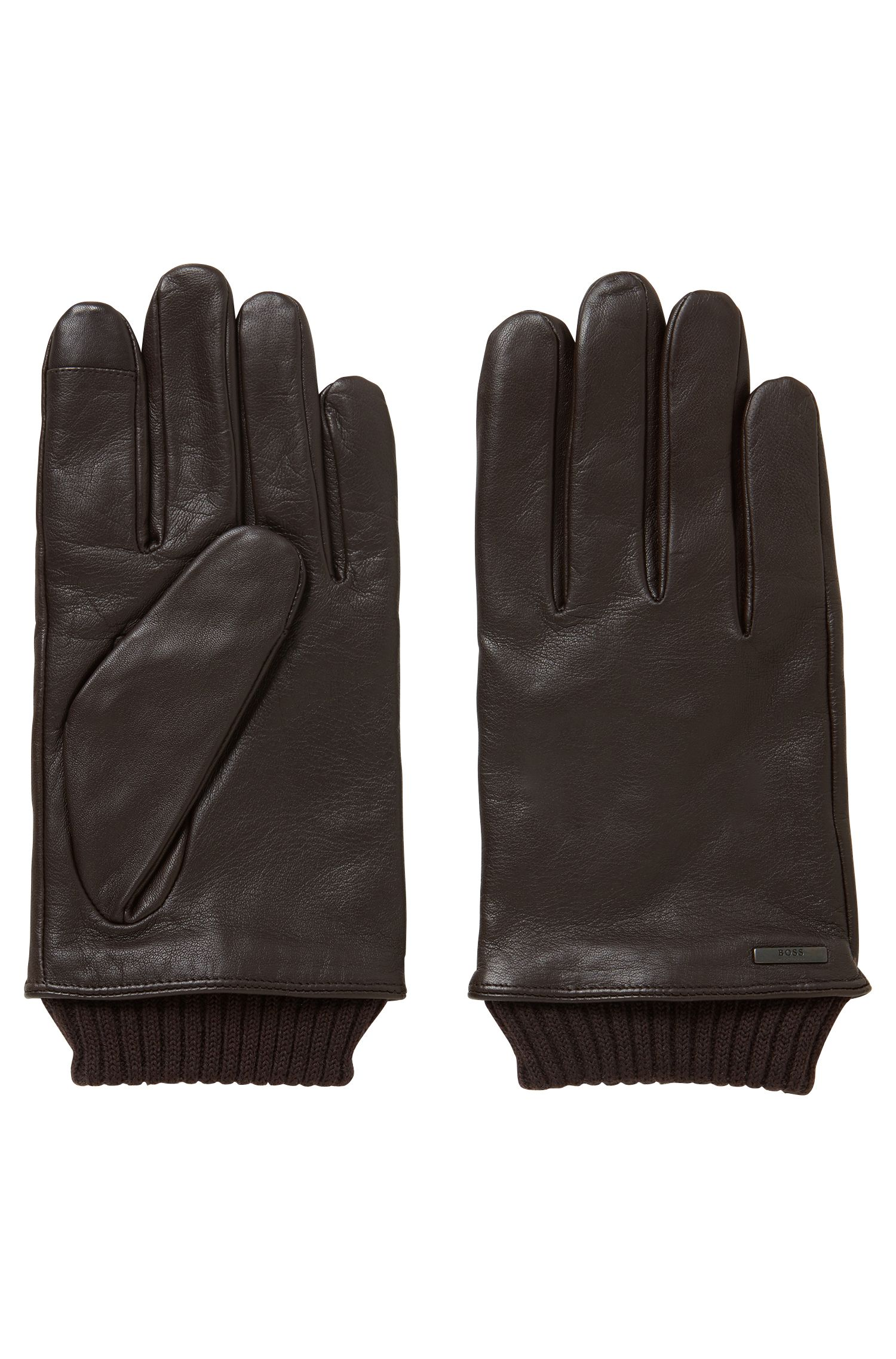 Touchscreen leather gloves with knitted cuffs, Dark Brown