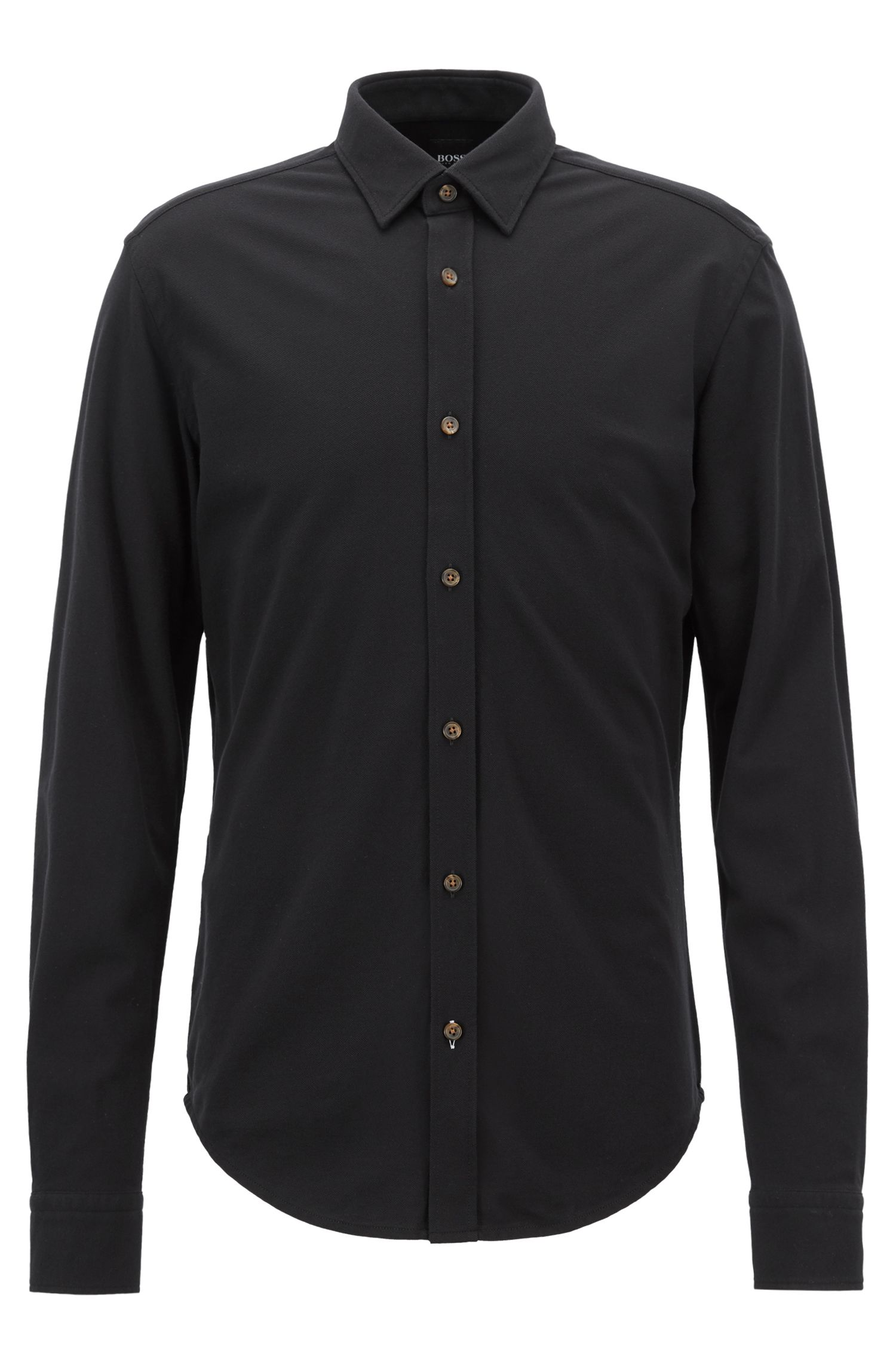 Slim-fit shirt in washed cotton-piqué jersey, Black