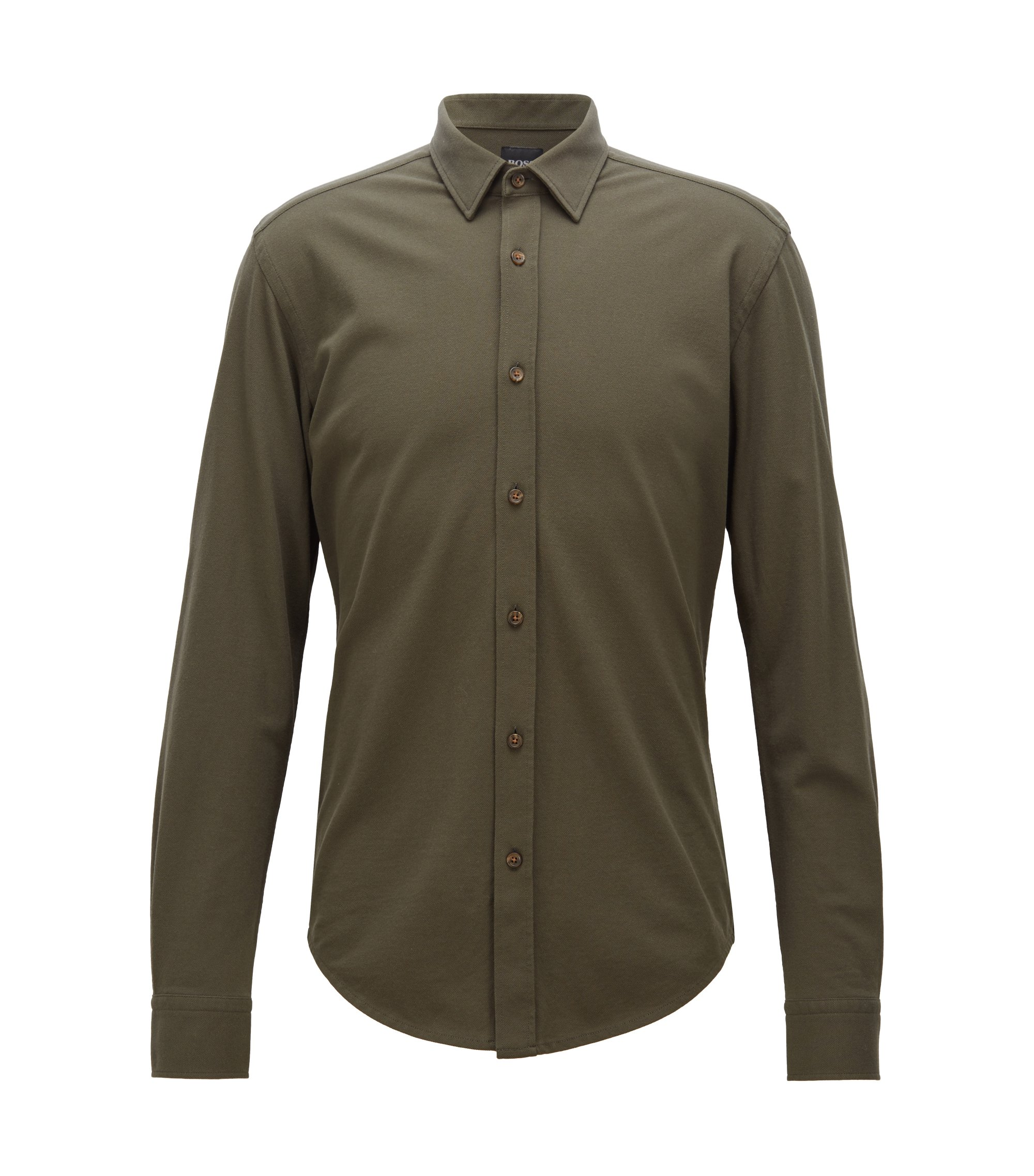 Slim-fit shirt in washed cotton-piqué jersey, Open Green