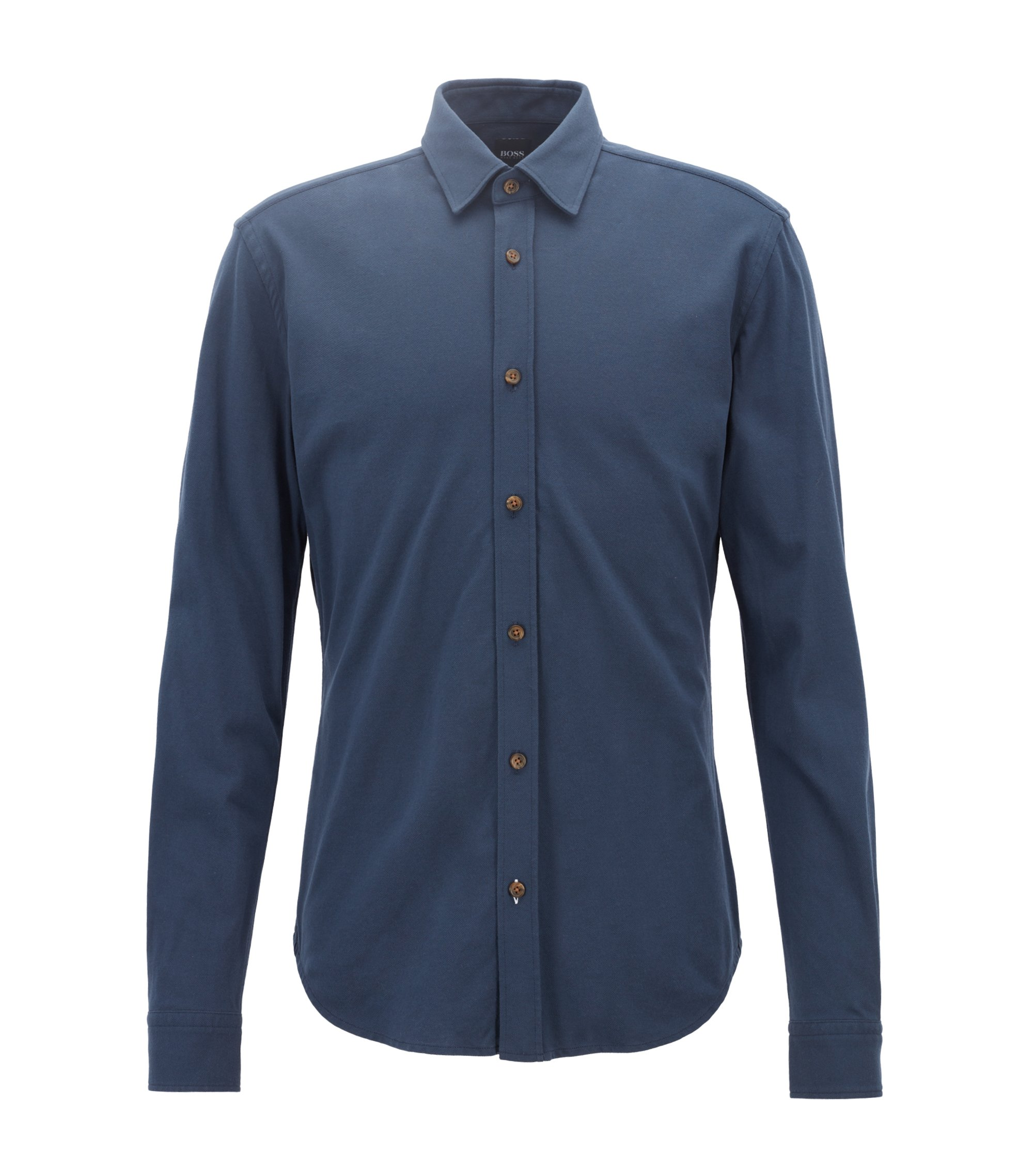 Slim-fit shirt in washed cotton-piqué jersey, Open Blue