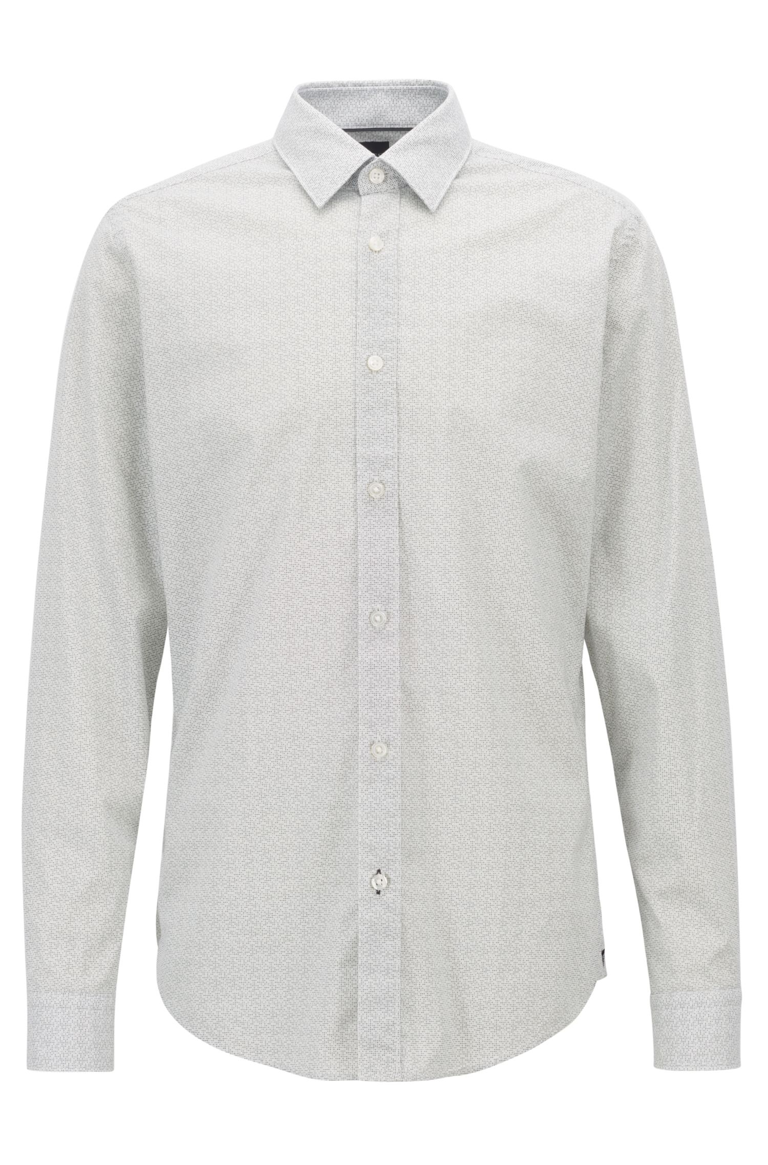 Regular-fit shirt in stretch cotton with exclusive print, Grey