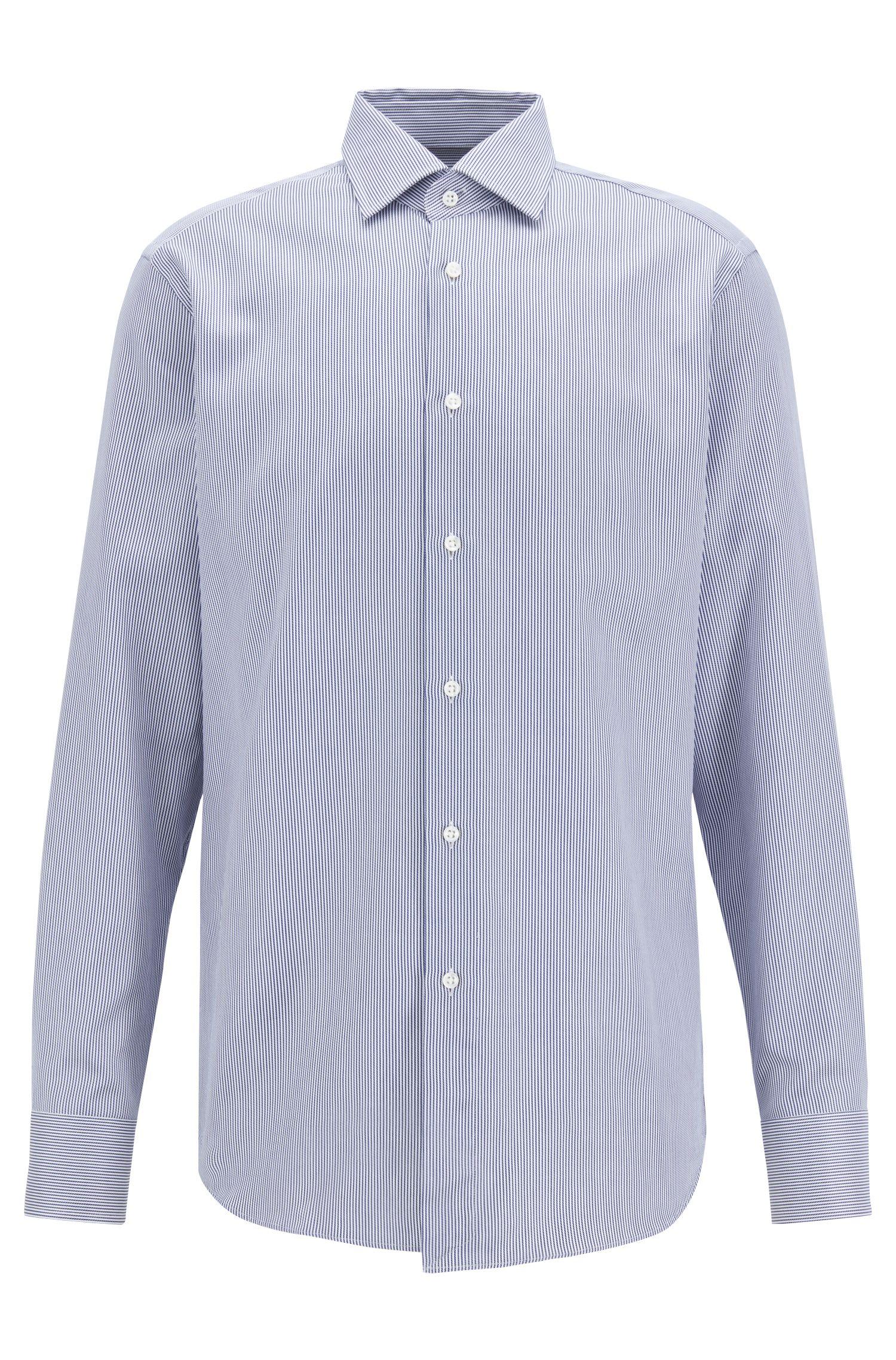 Tailored regular-fit shirt in striped Italian cotton twill, Dark Blue