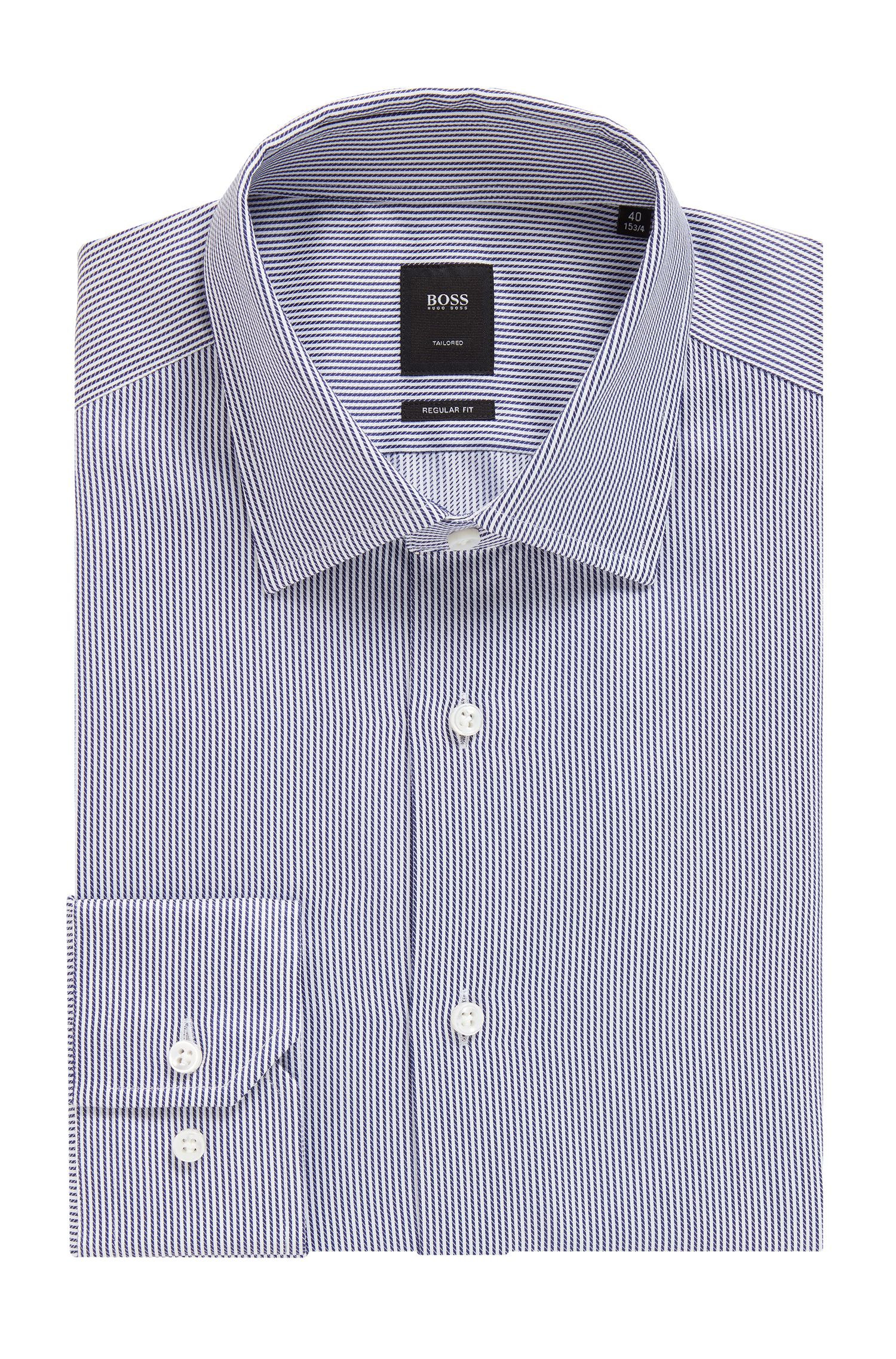 Tailored regular-fit shirt in striped Italian cotton twill, Dark Blue