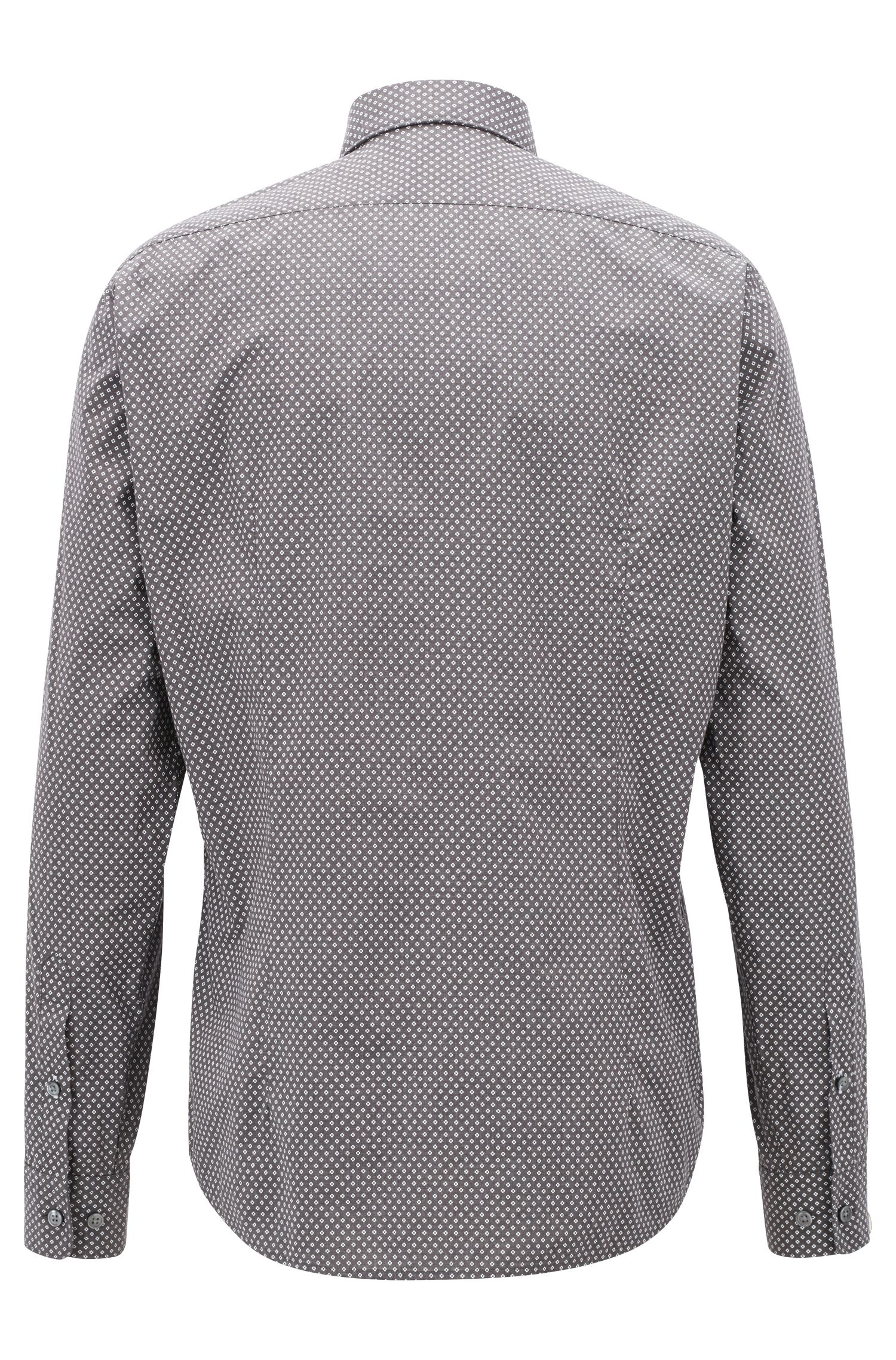Regular-fit shirt in melange cotton with exclusive pattern, Open Grey
