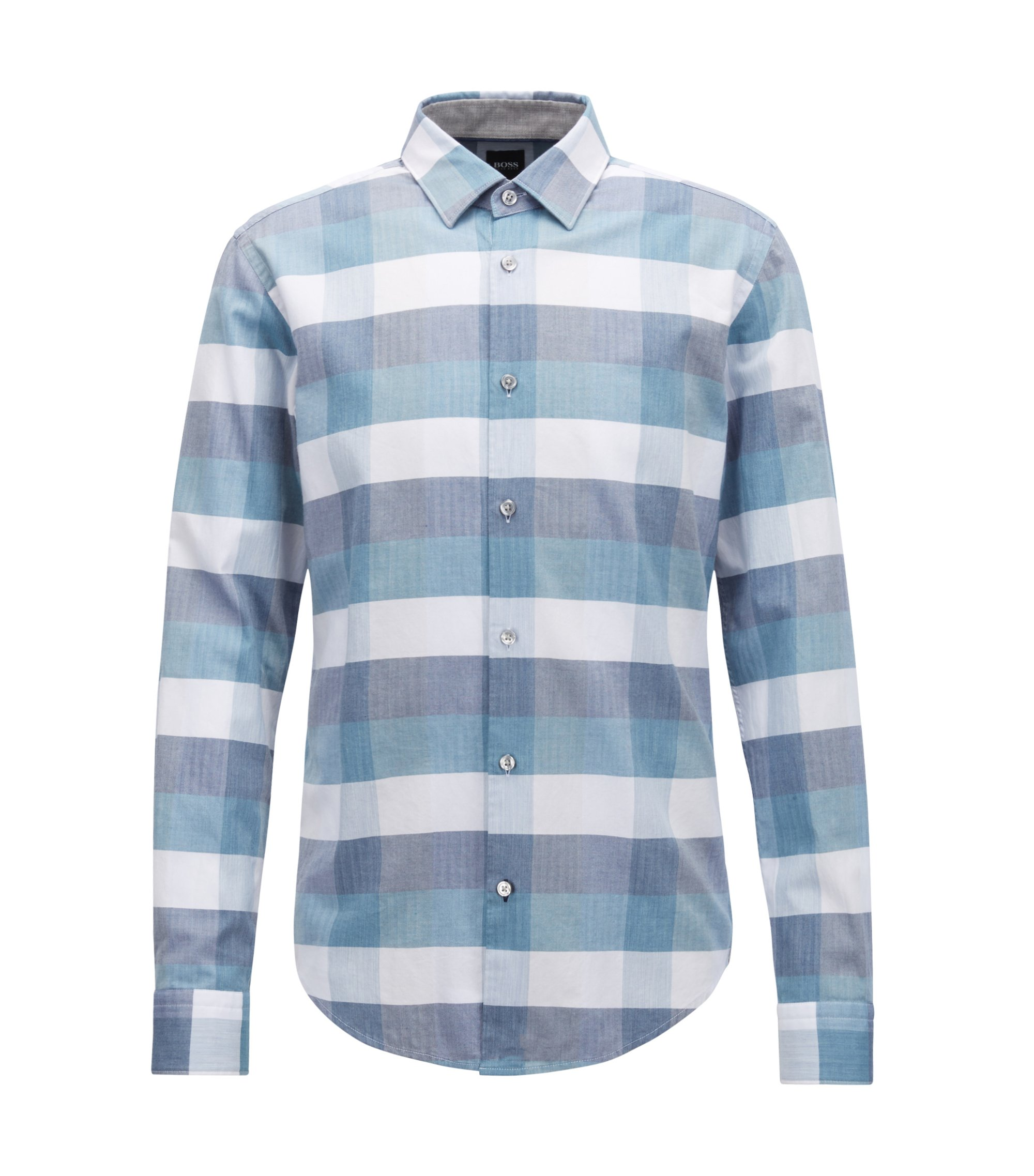 Slim-fit shirt in cotton with large-scale check pattern, Light Blue