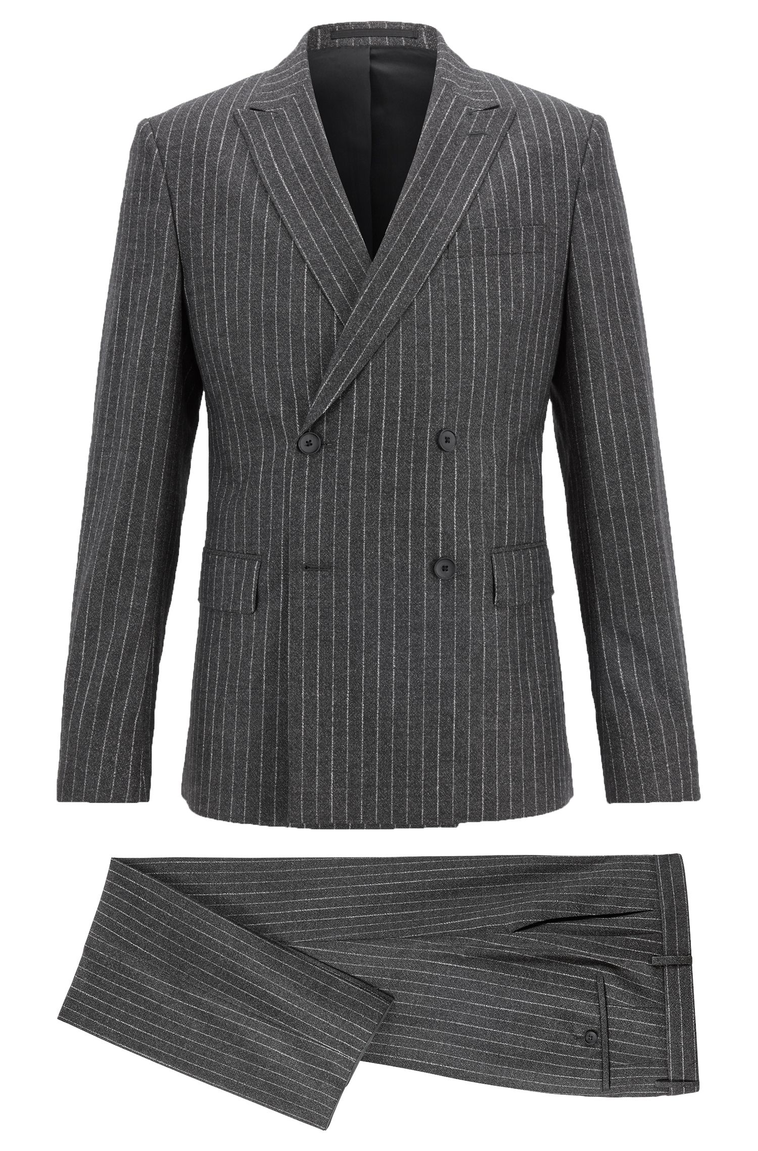 Double-breasted pinstripe suit in stretch virgin wool, Black