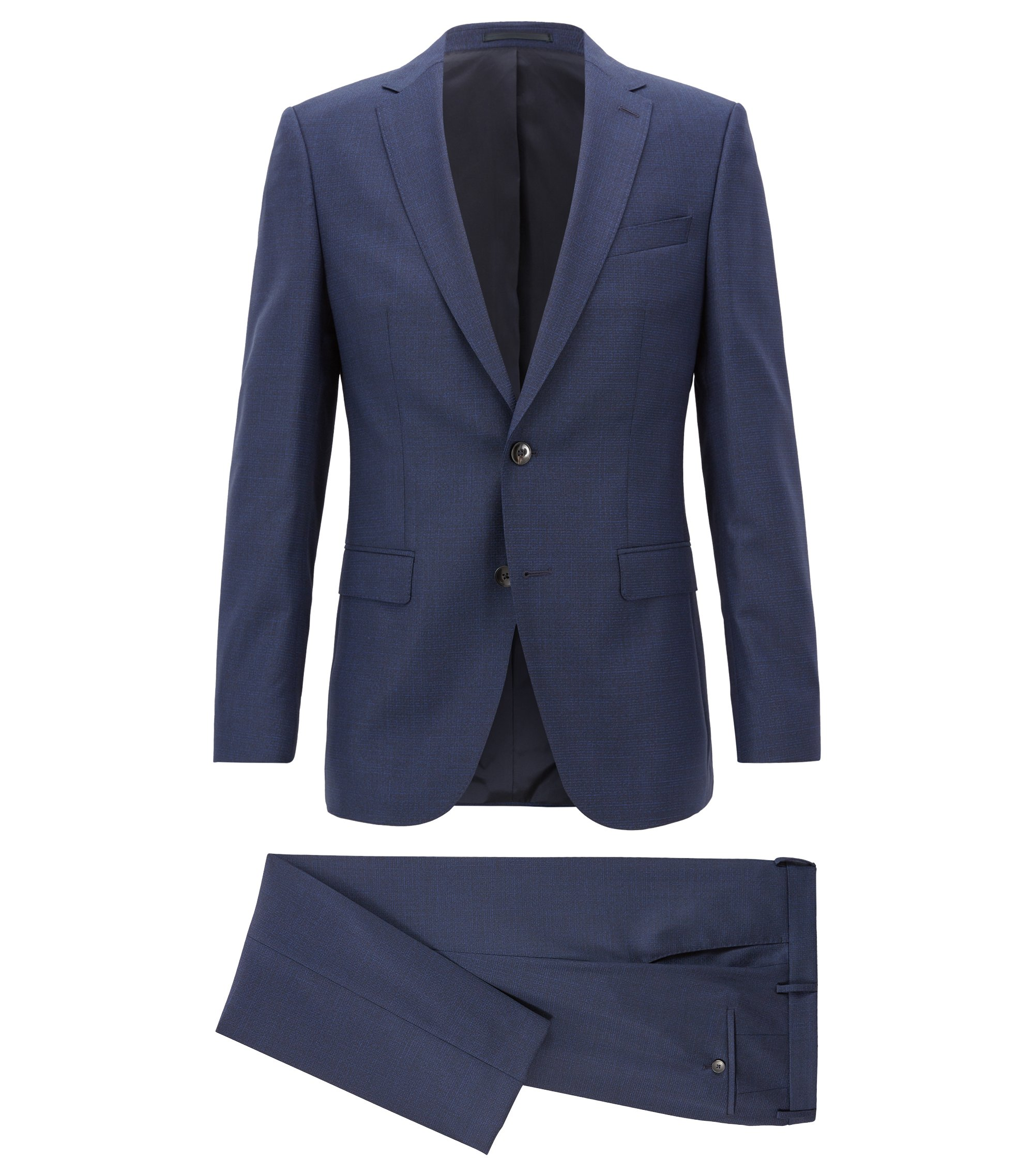 Slim-fit suit in patterned virgin wool serge, Dark Blue