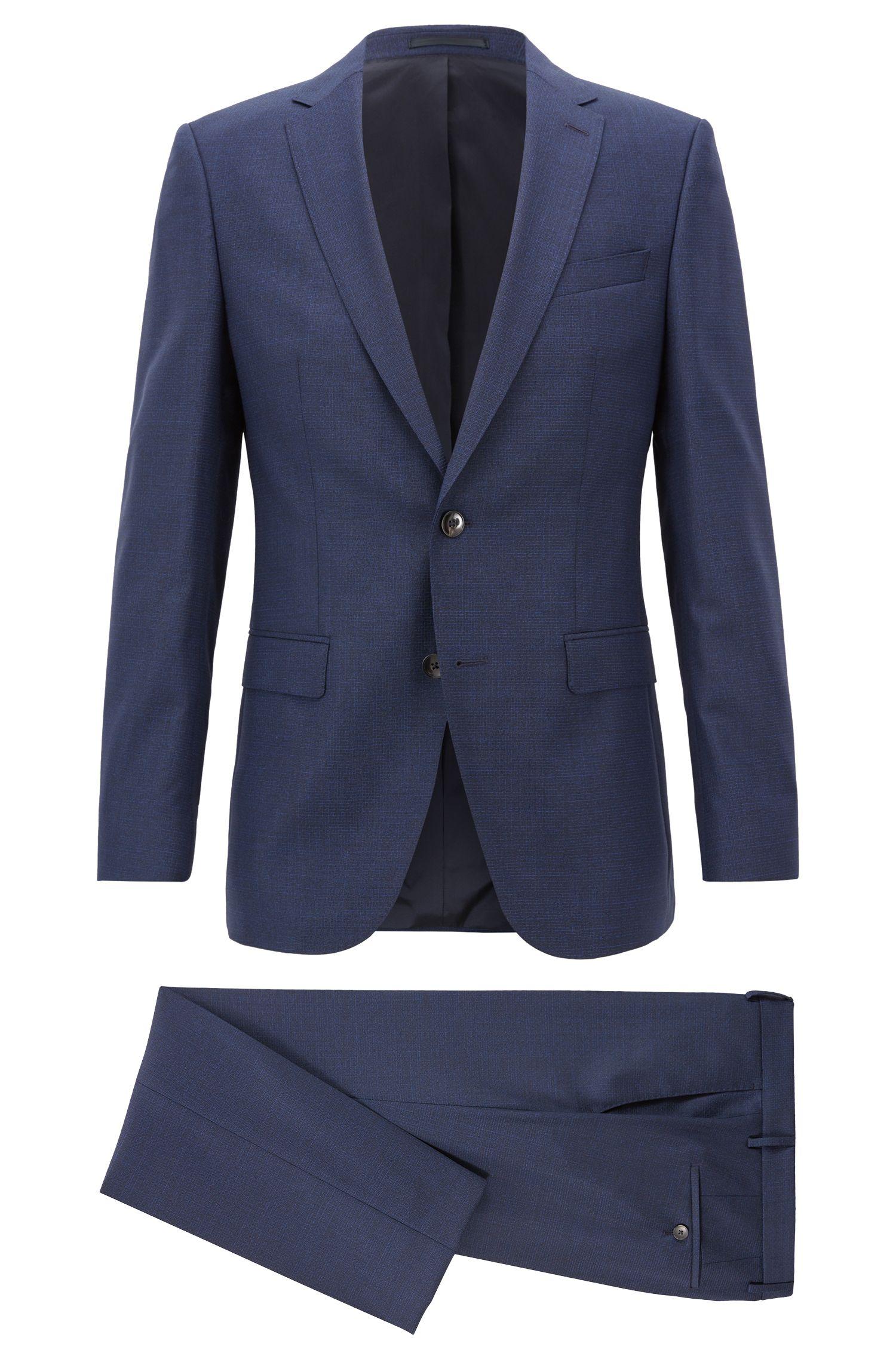 Slim-fit suit in patterned virgin wool serge, Dark Blue