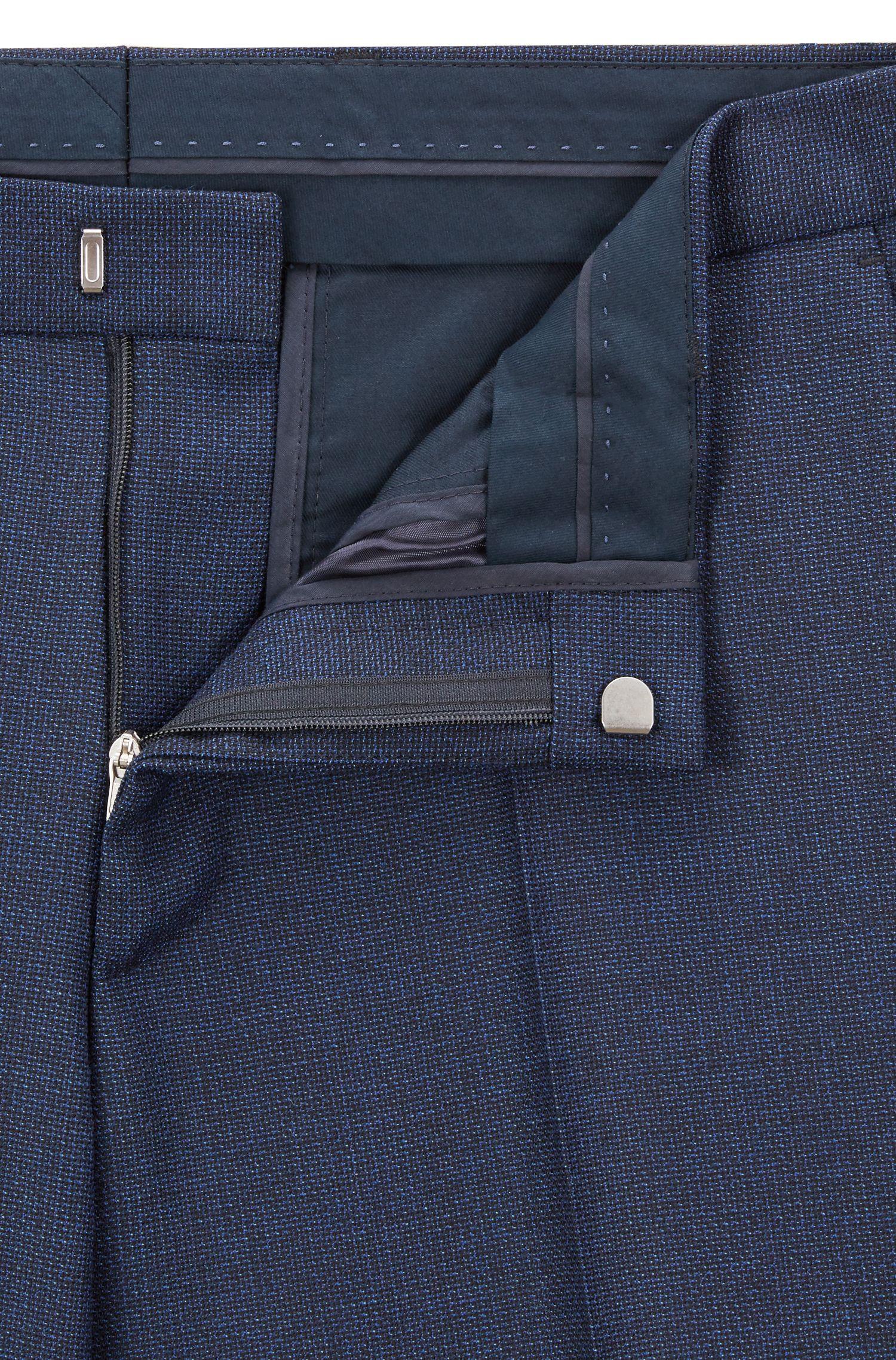 Slim-fit suit in patterned virgin-wool serge, Dark Blue