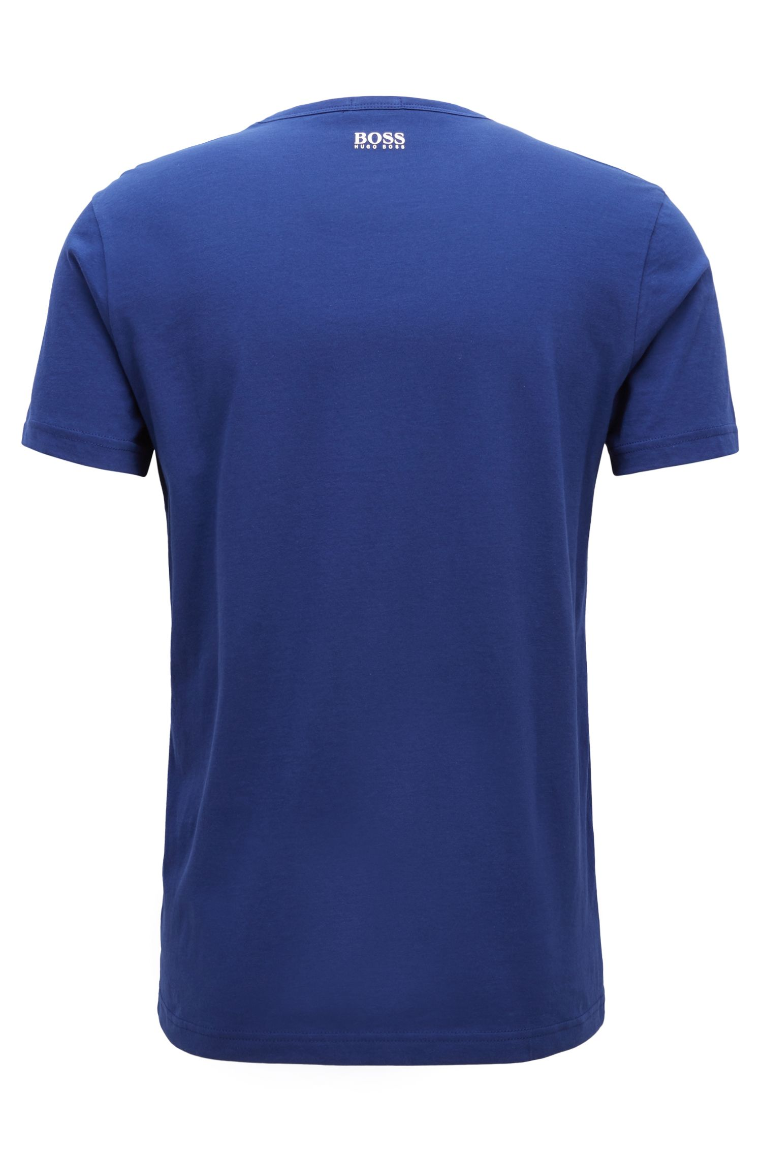 Short-sleeved T-shirt in cotton with graphic logo print, Dark Blue