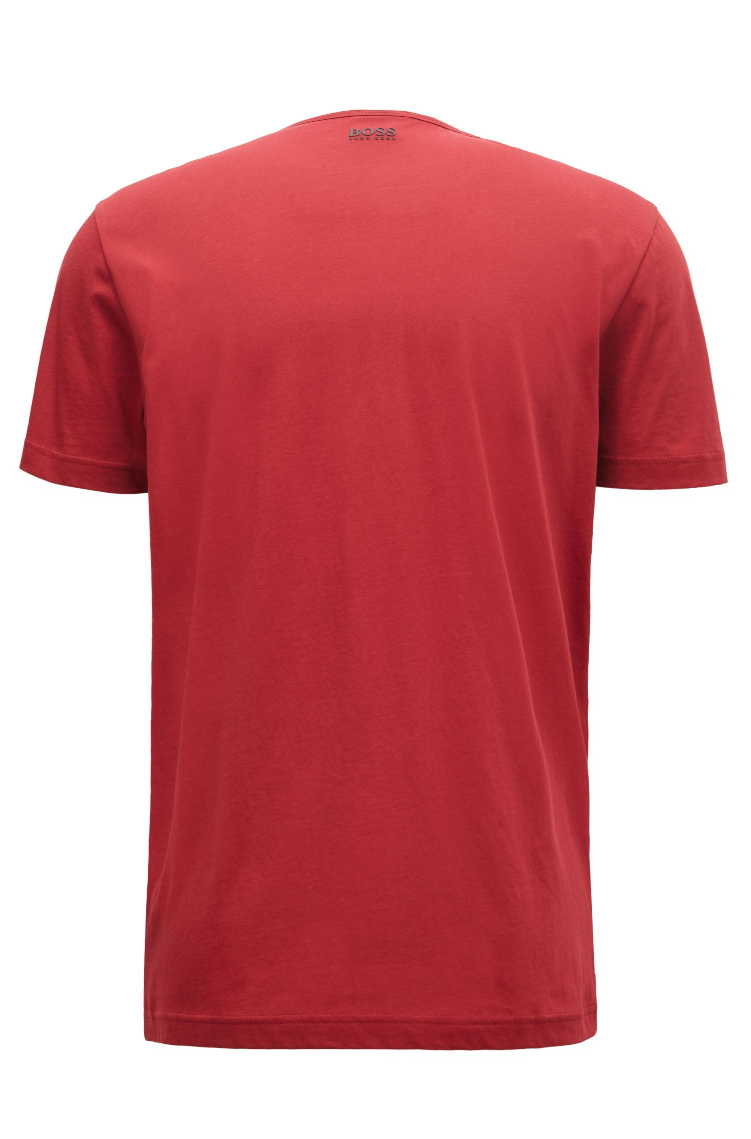 Short-sleeved T-shirt in cotton with graphic logo print, Dark Red