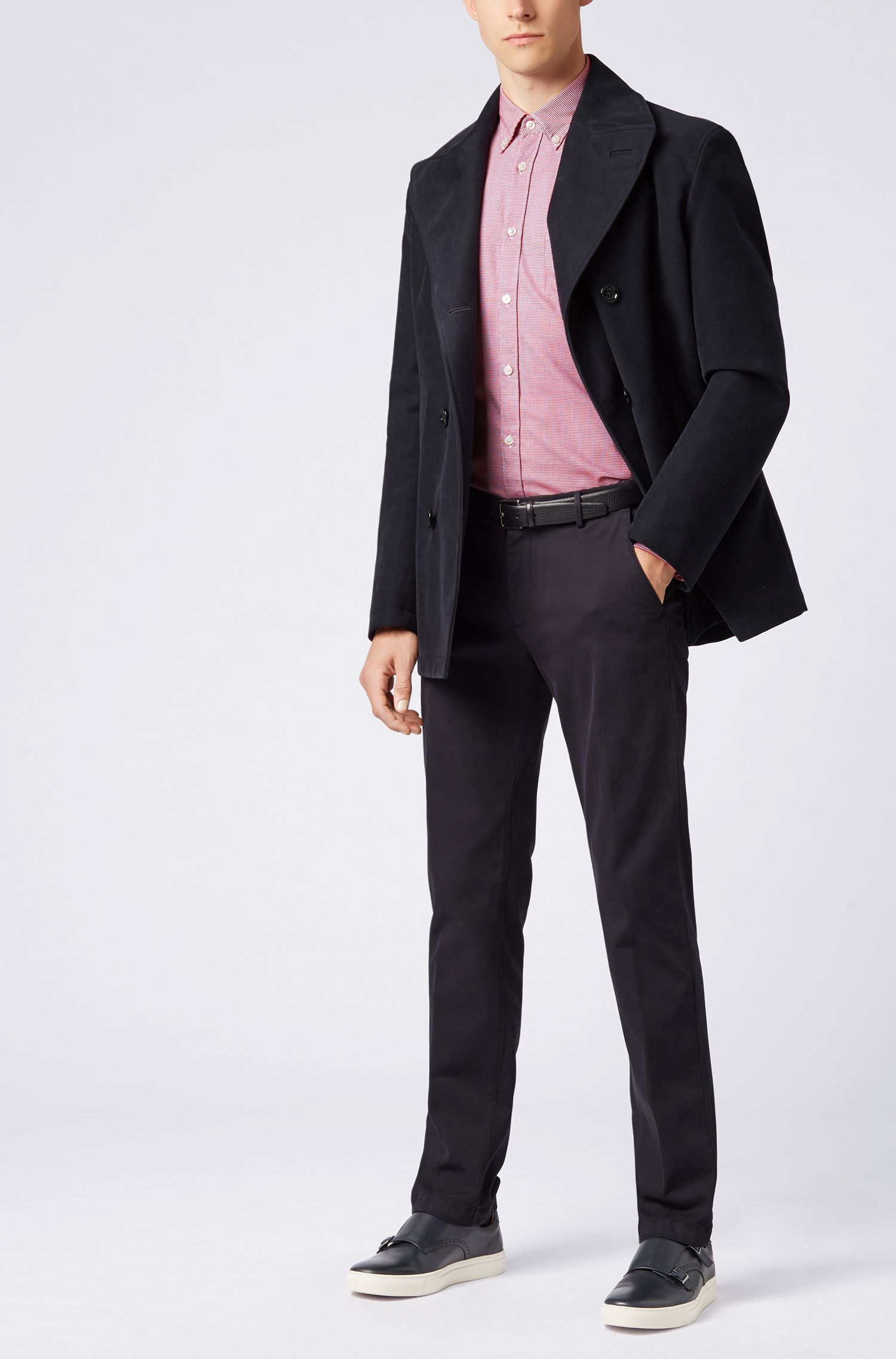 Slim-fit shirt in micro-patterned dobby cotton, Dark Red