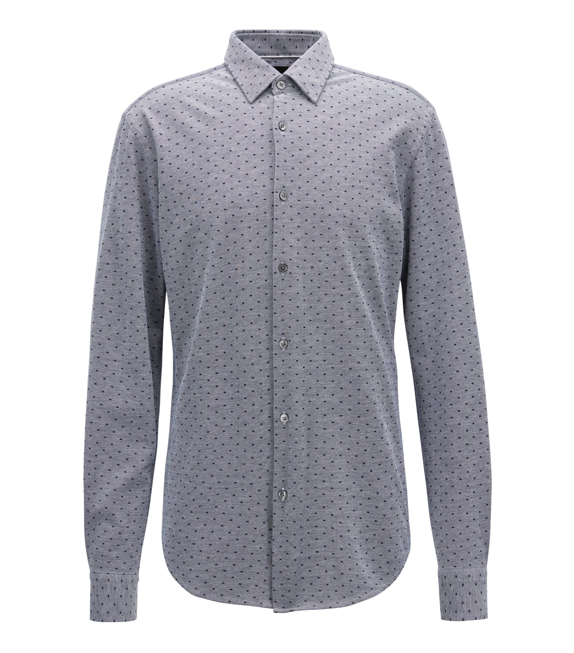 Slim-fit shirt with exclusive all-over print, Open Blue