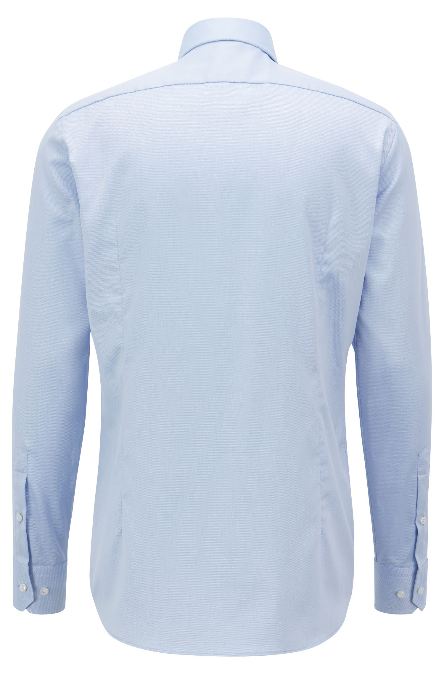 Tailored slim-fit shirt in crease-free dobby cotton, Light Blue