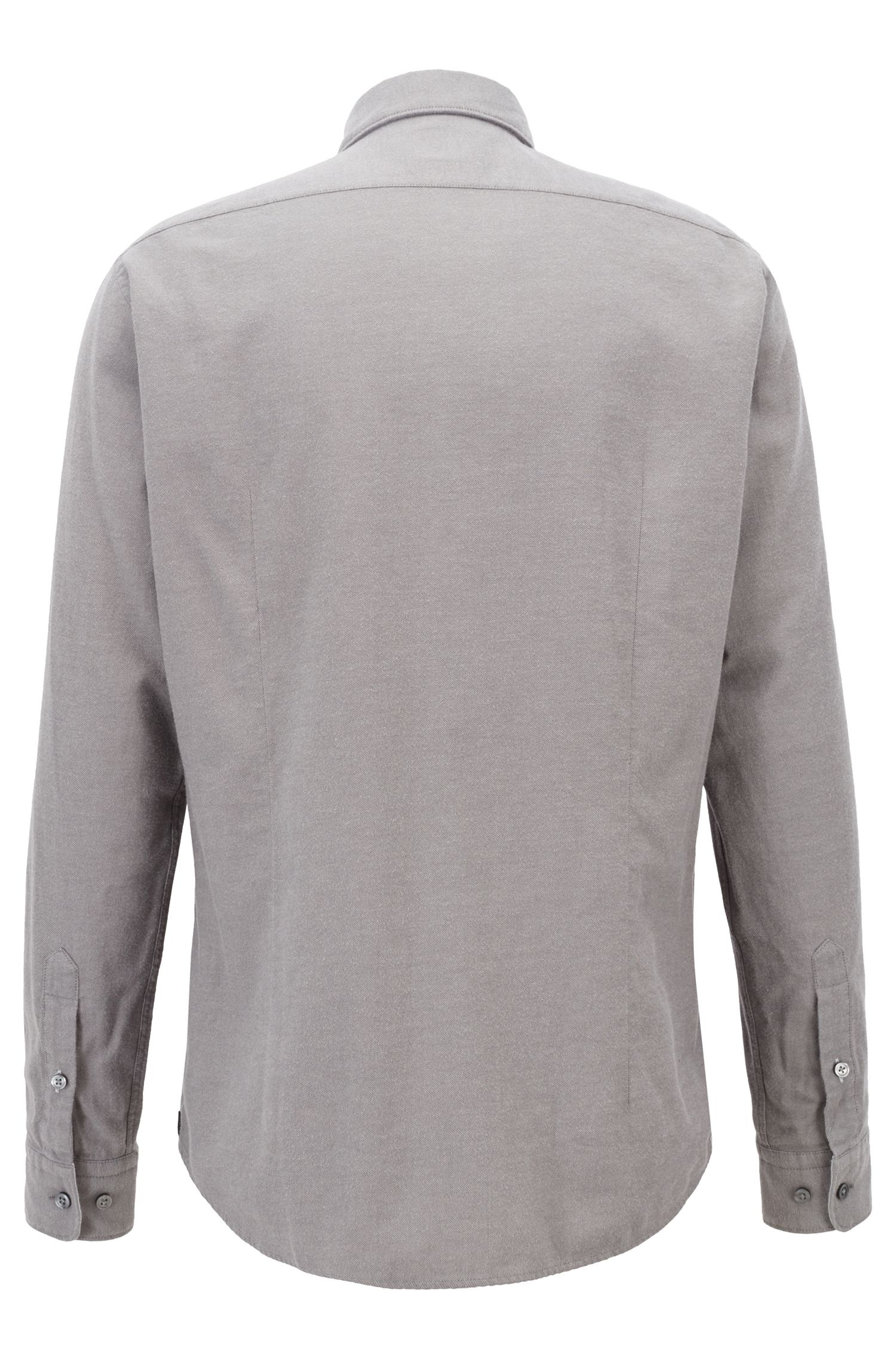 Regular-fit shirt in exclusive cotton flannel, Open Grey
