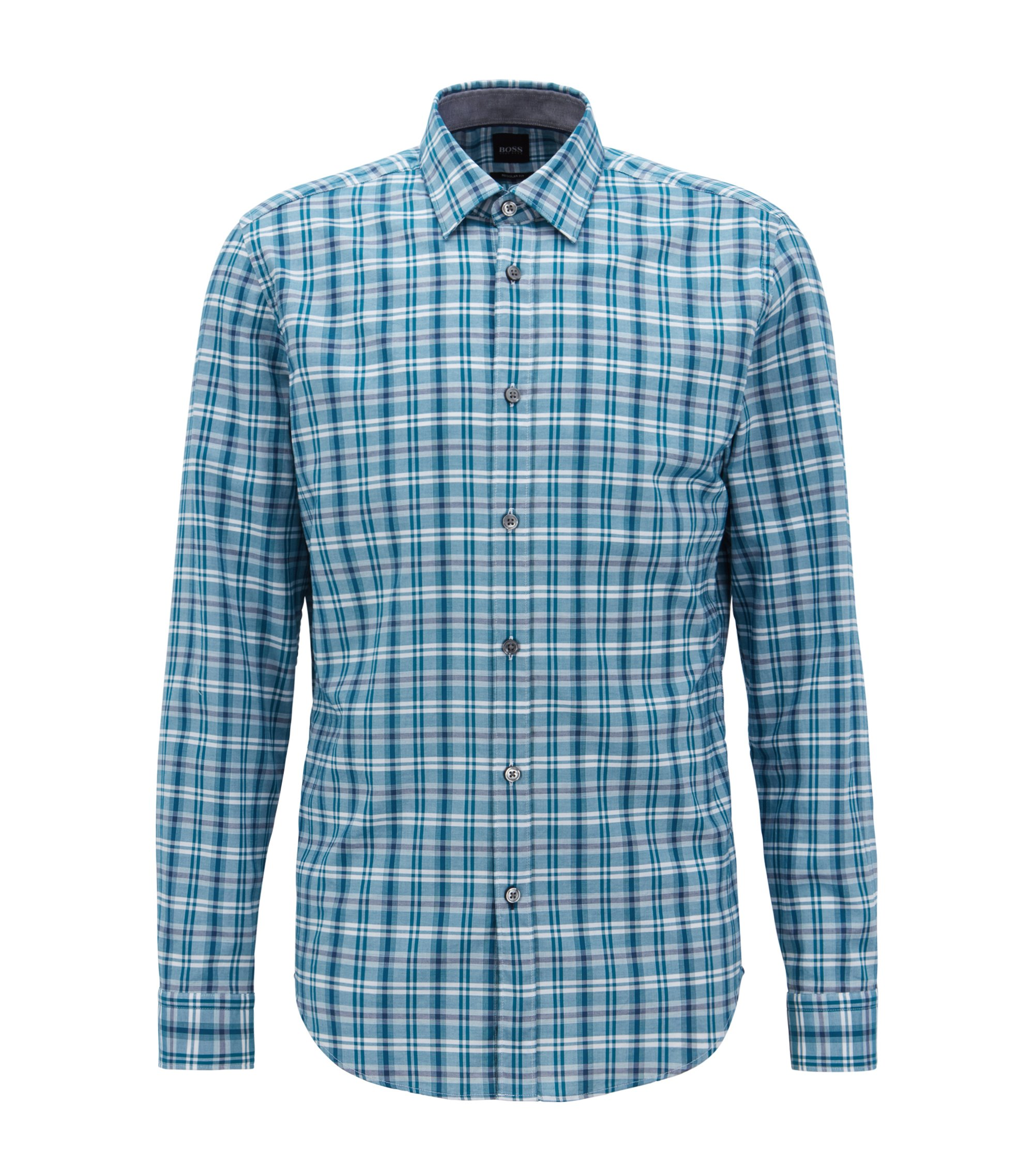 Regular-fit shirt in colorful checked cotton, Turquoise