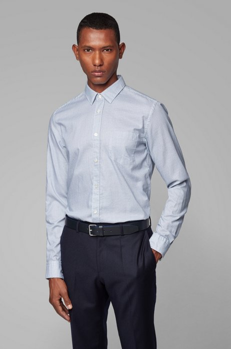 Slim-fit shirt in printed Italian Oxford cotton, Open Blue