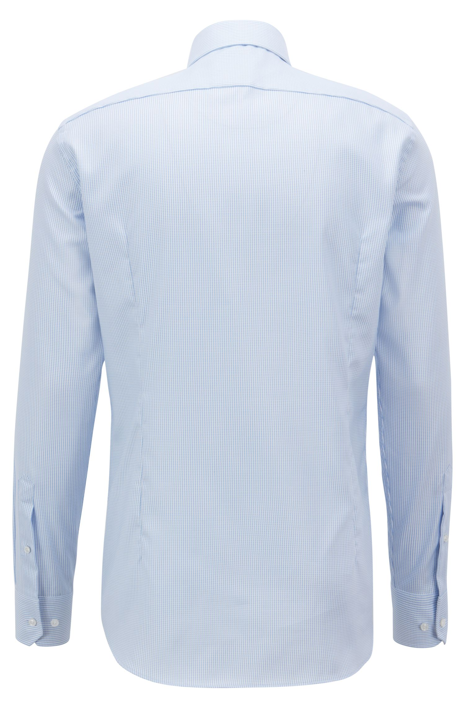 Tailored slim-fit shirt in crease-free structured cotton, Light Blue