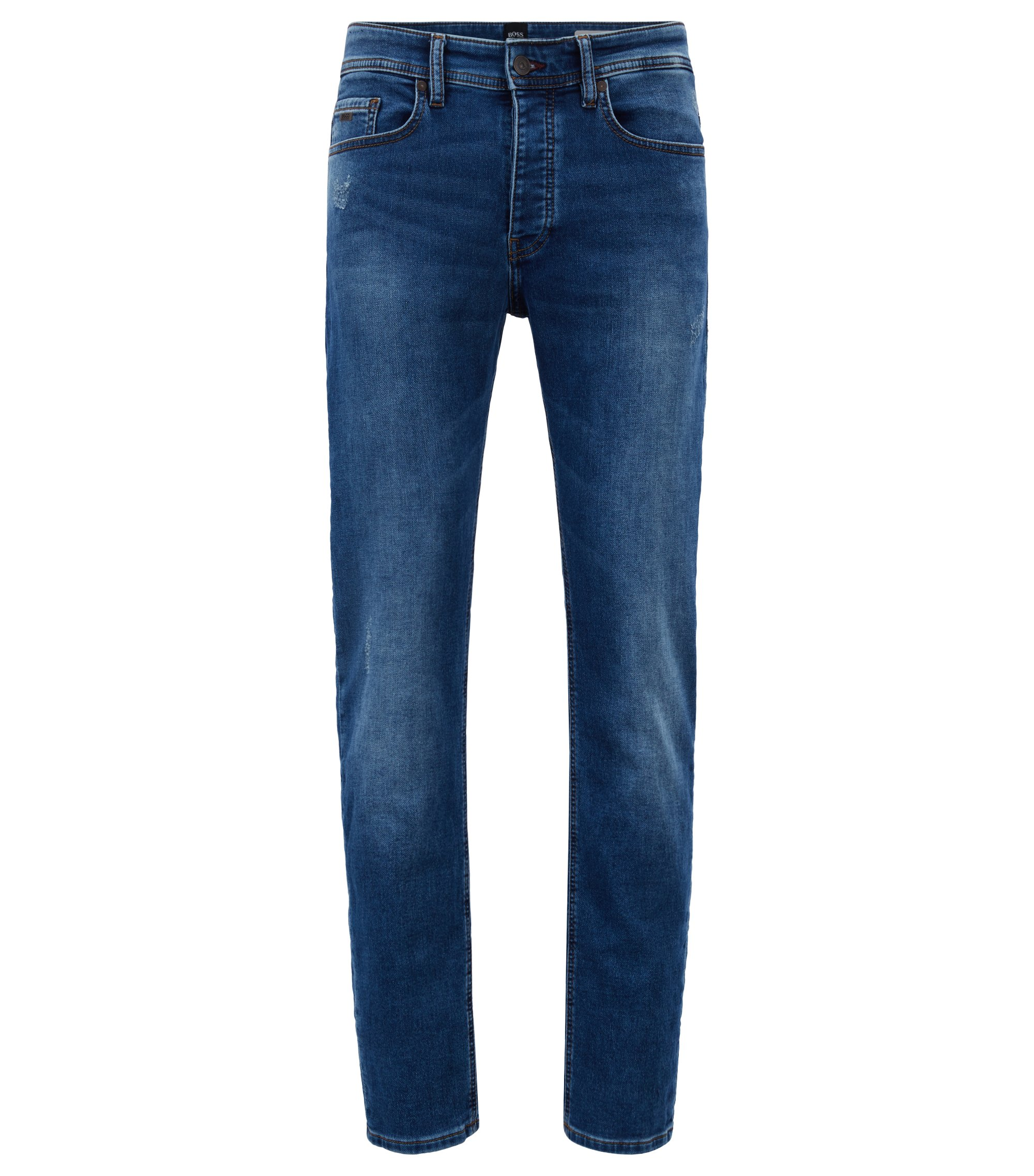 Tapered-fit mid-blue jeans in distressed knitted denim, Blue