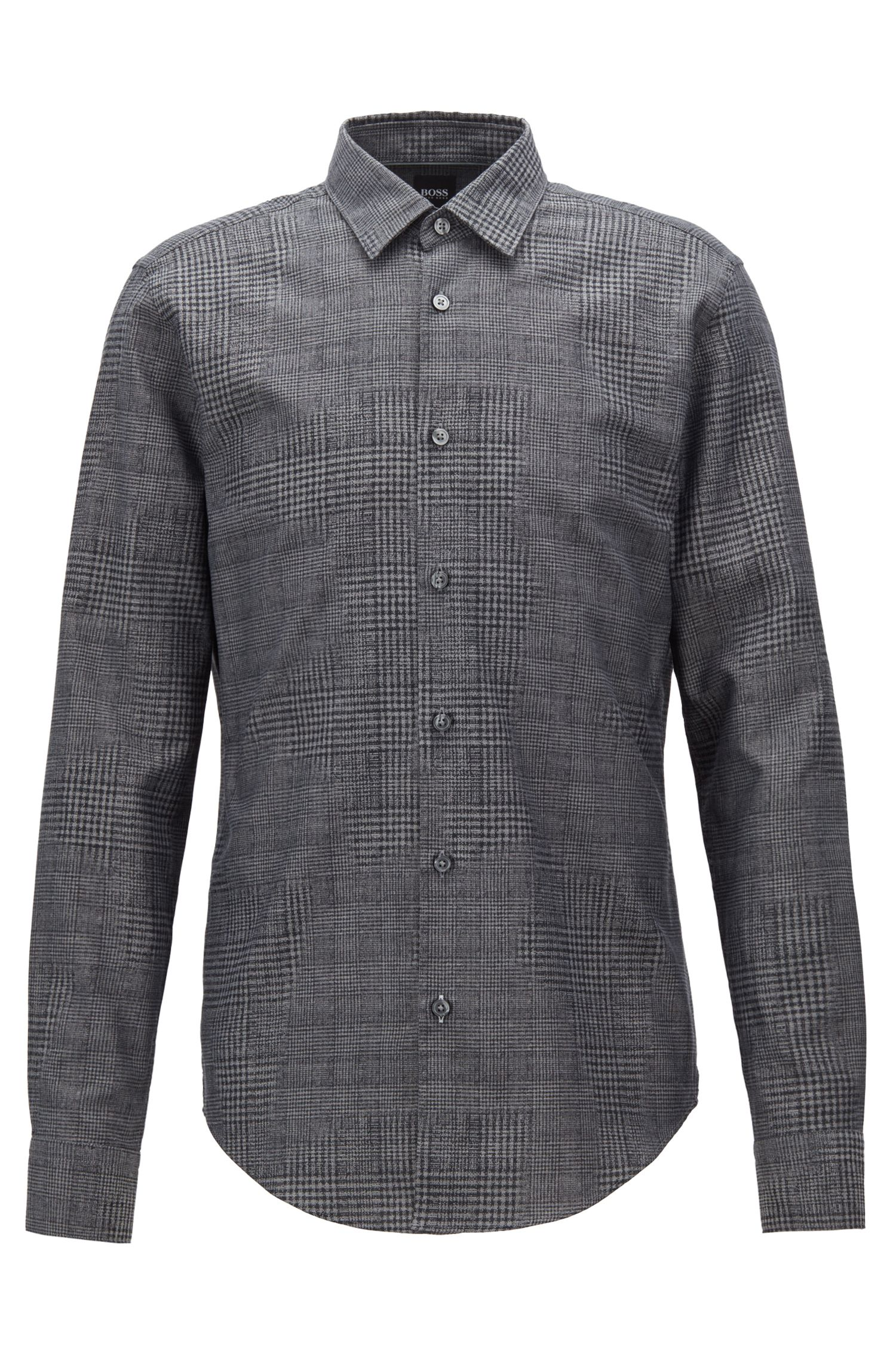 Slim-fit shirt in cotton jacquard with houndstooth patterns, Grey