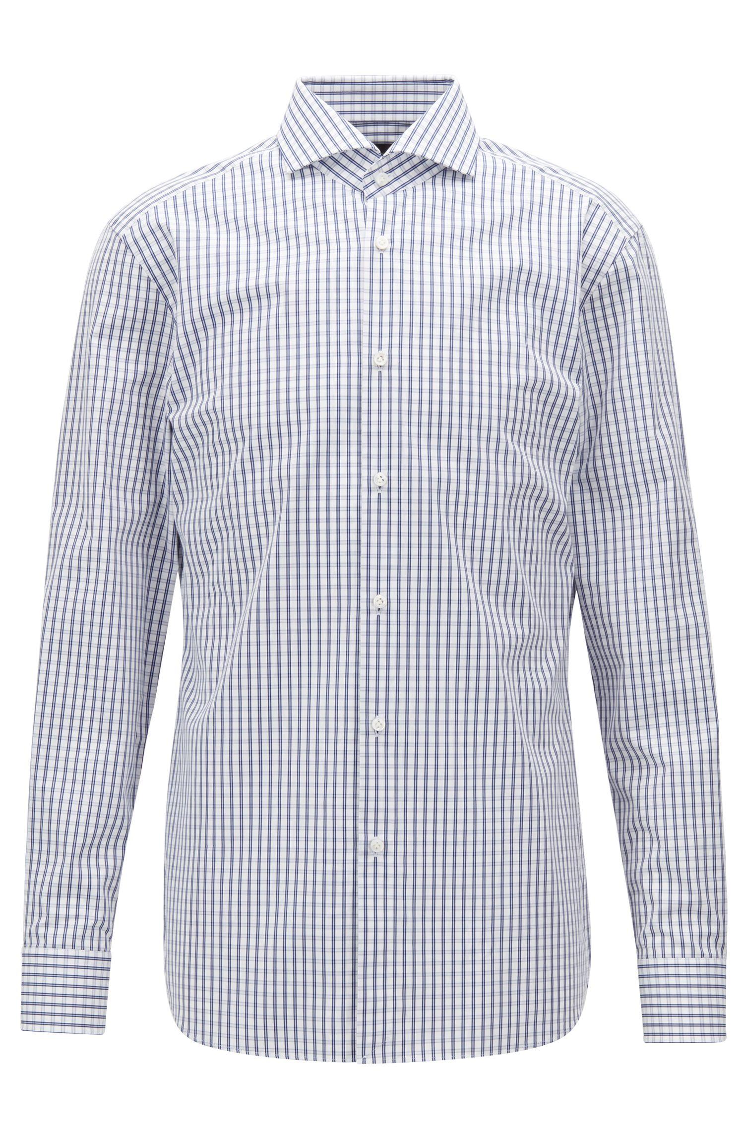Slim-fit shirt in plain-check cotton poplin, Blue