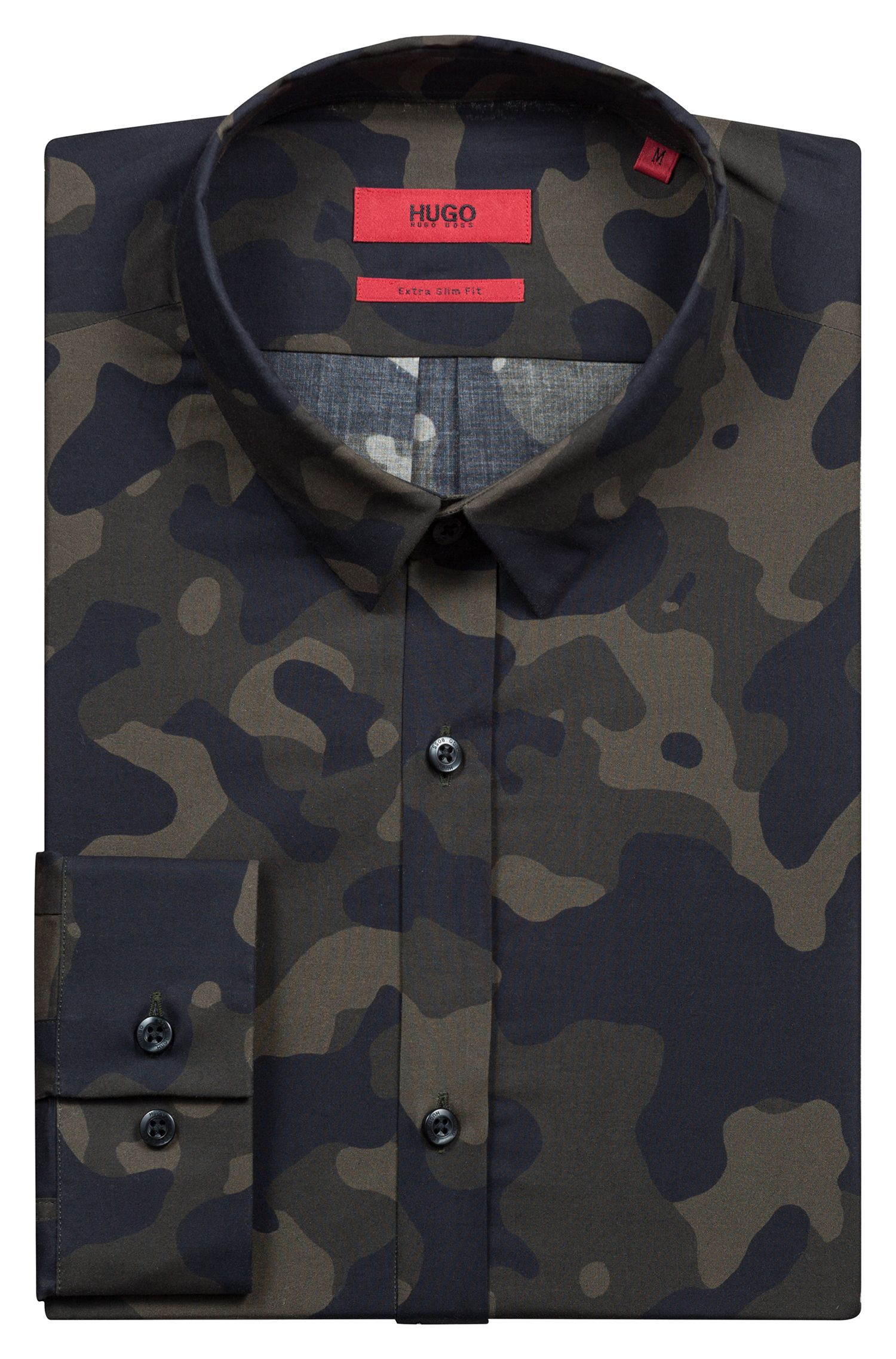 Extra-slim-fit camouflage-print shirt in cotton, Dark Green