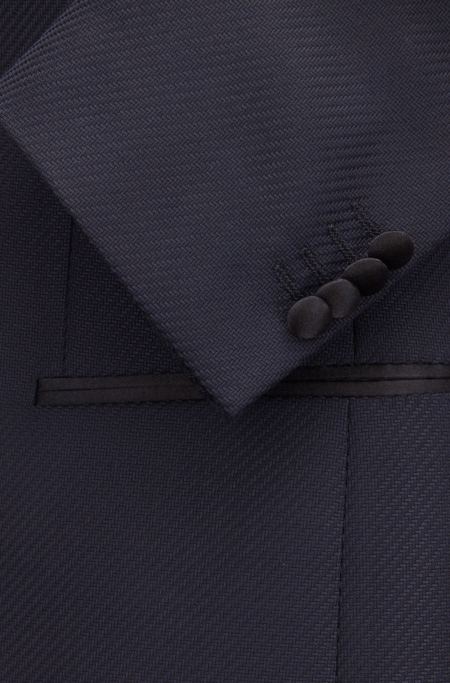 Slim-fit dinner jacket with silk shawl lapels, Open Blue