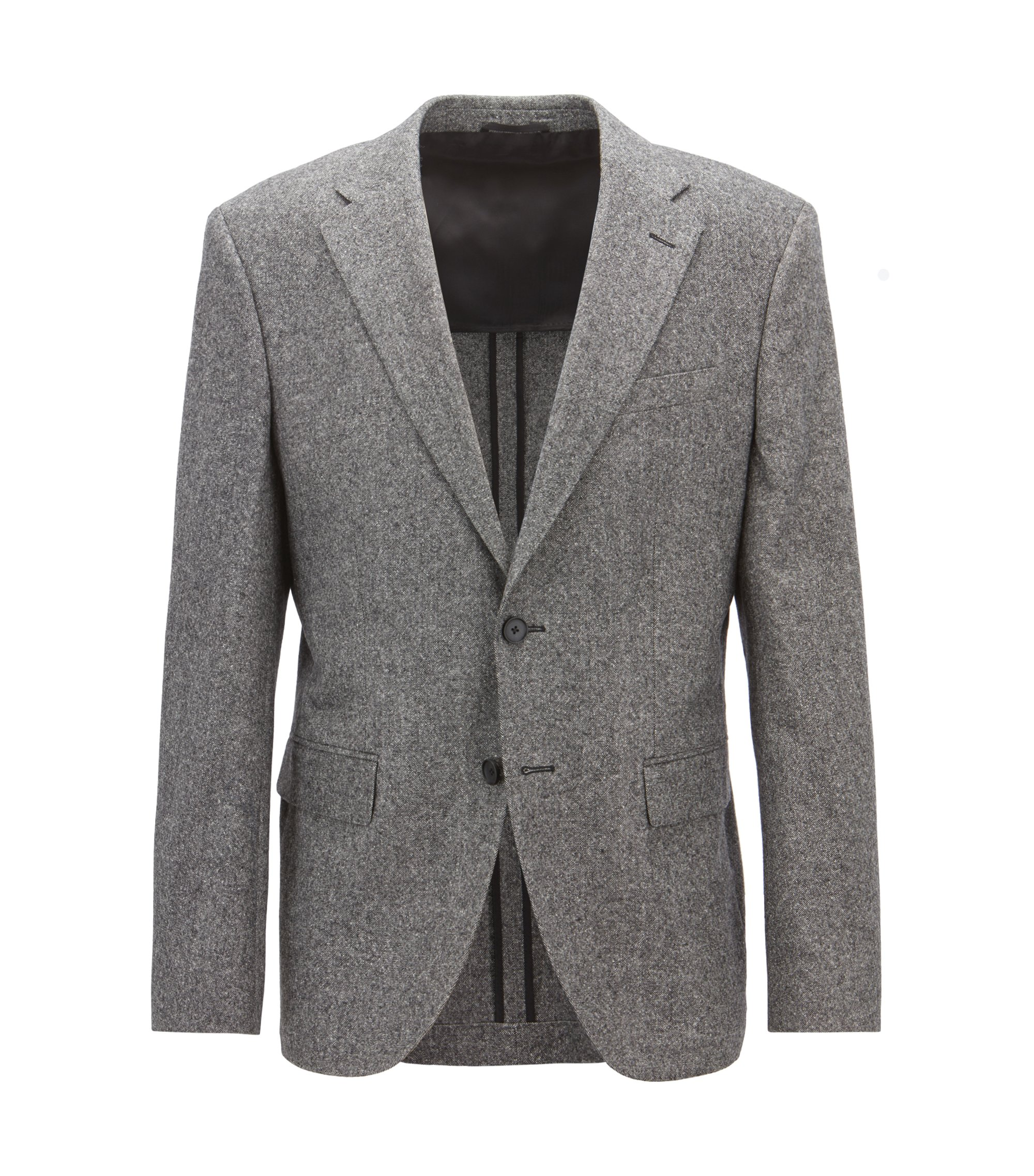 Regular-fit blazer in a virgin-wool-blend tweed, Grey