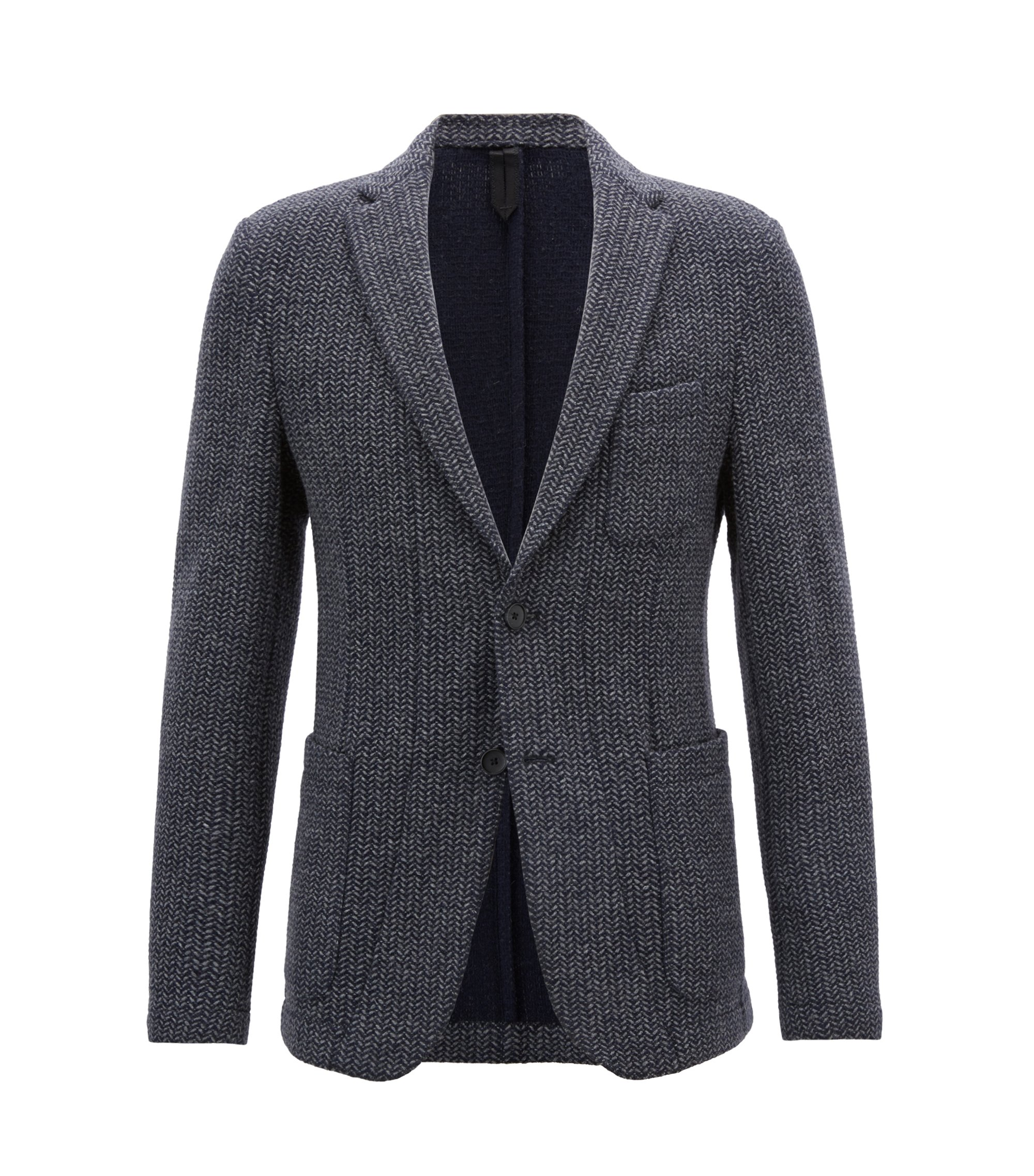 Slim-fit blazer in a herringbone wool blend, Open Grey