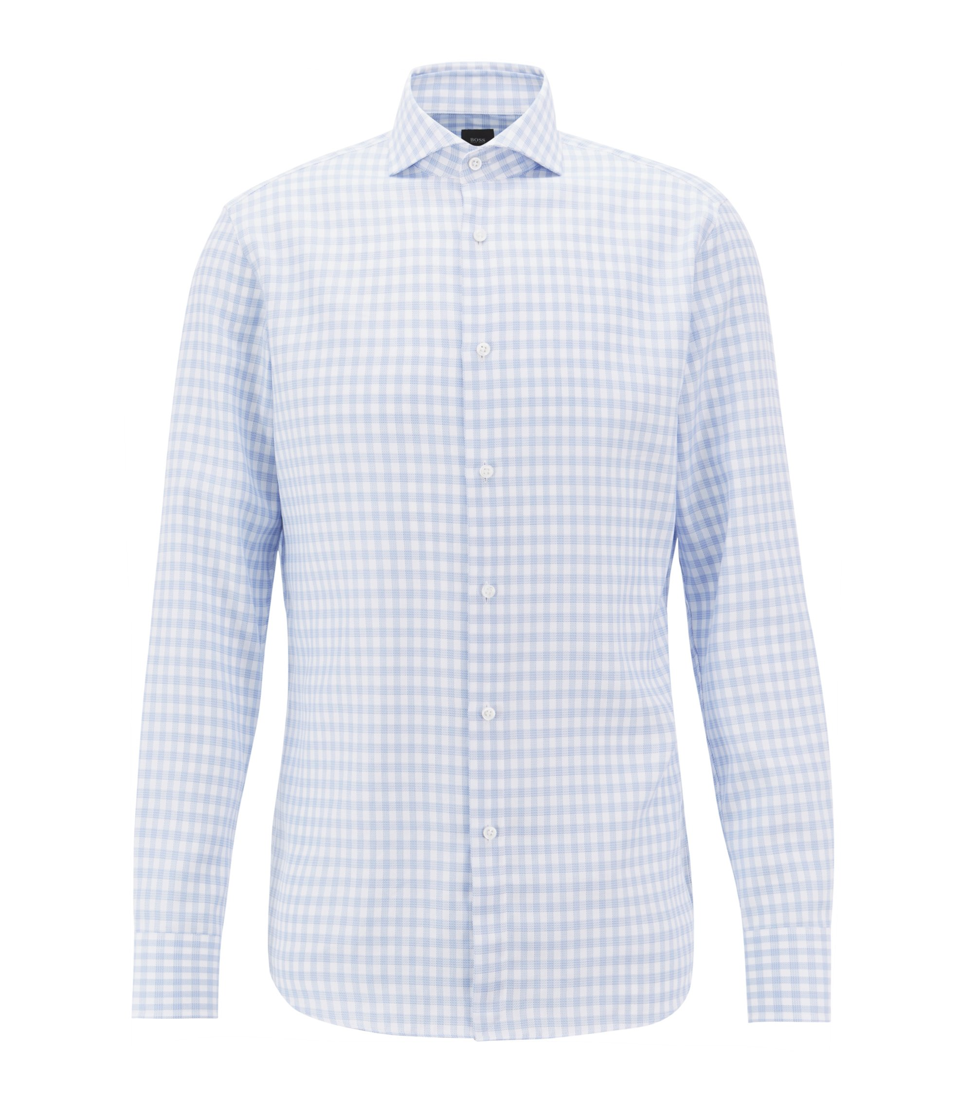 BOSS Tailored slim-fit shirt in Glen-check cotton, Light Blue